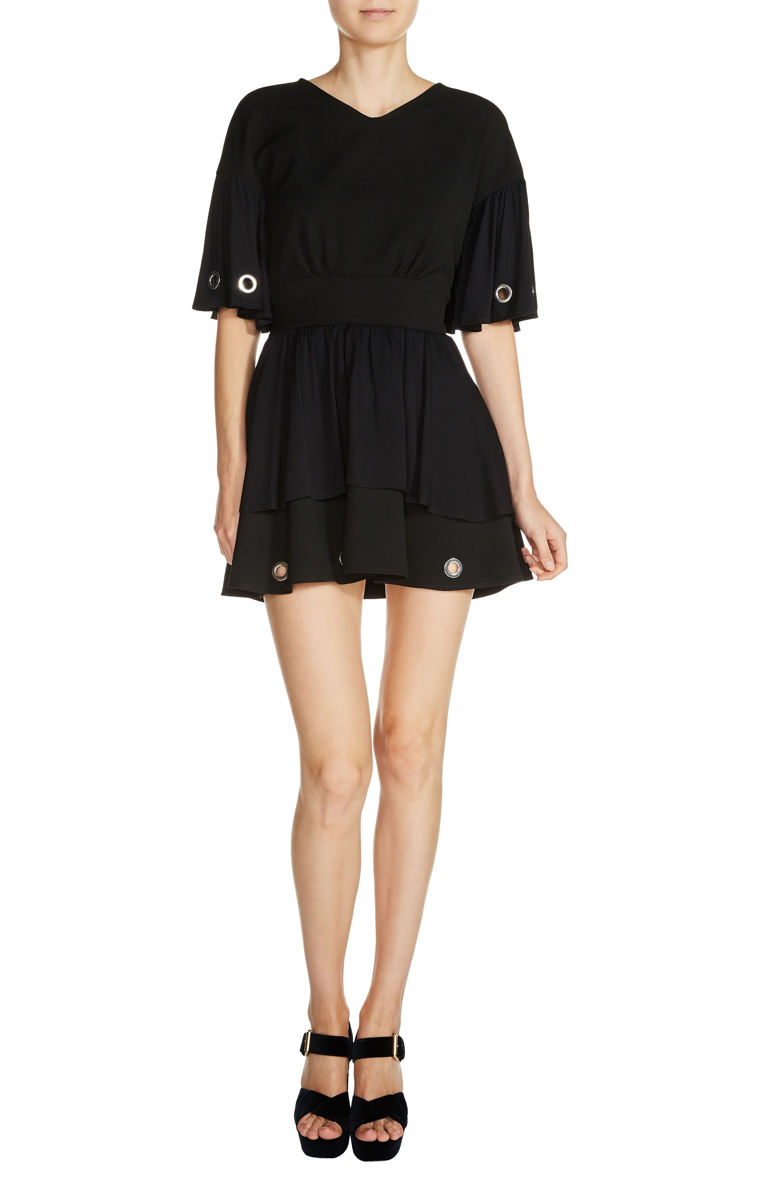 Grommet Trim Bell Sleeve Mindress,                         Main,                         color, Black