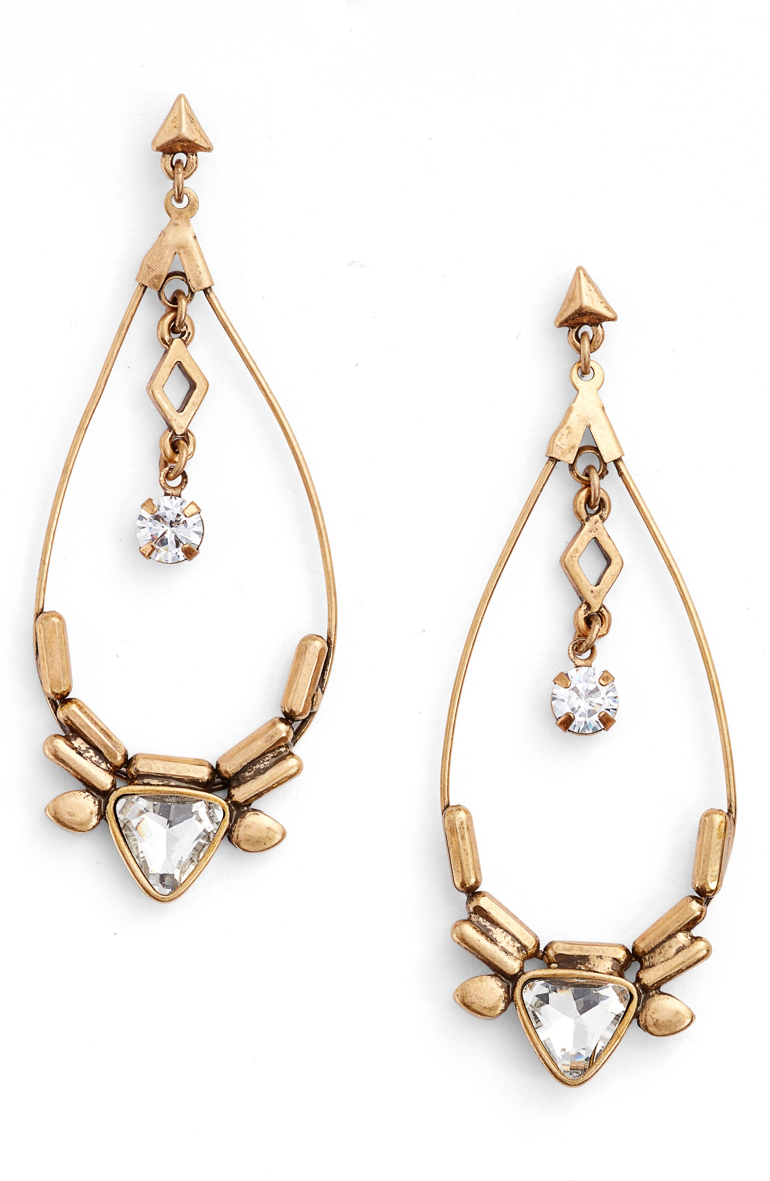 Triangle Stone Drop Earrings,                             Main thumbnail 1, color,                             Clear- Gold