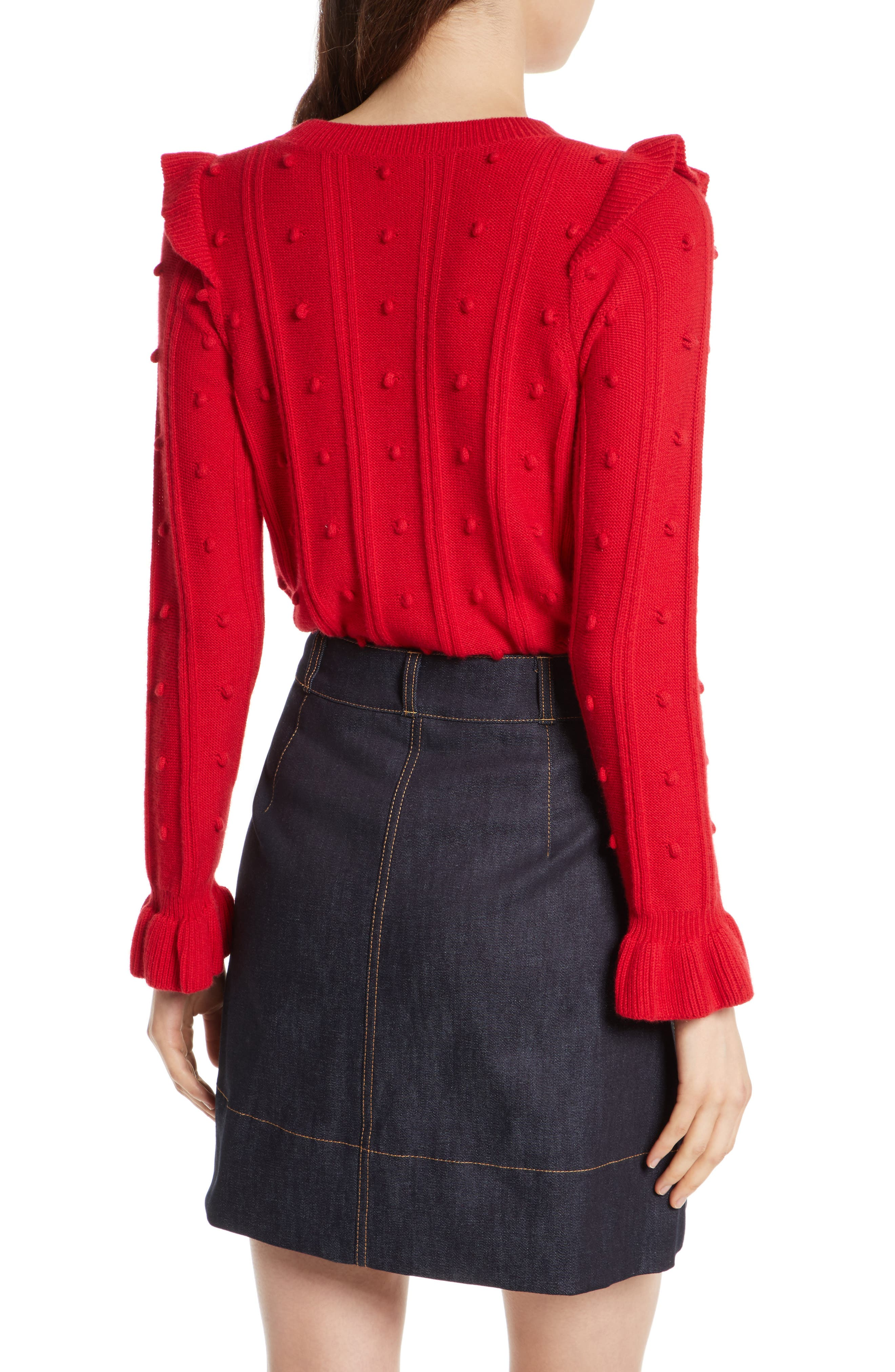 ruffle yoke sweater,                             Alternate thumbnail 3, color,                             Charm Red