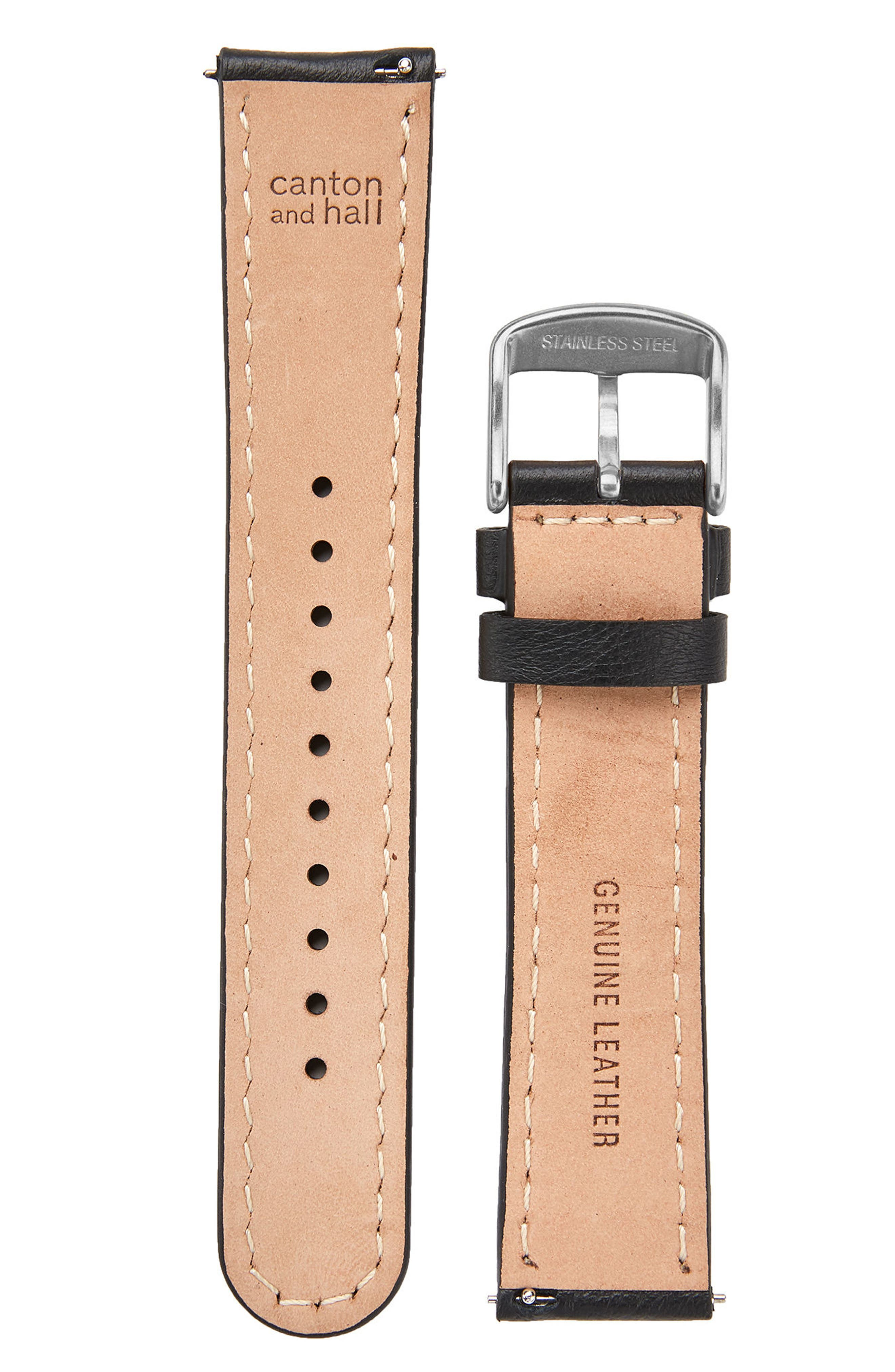 Leather Watch Strap, 20mm,                             Alternate thumbnail 2, color,                             Black