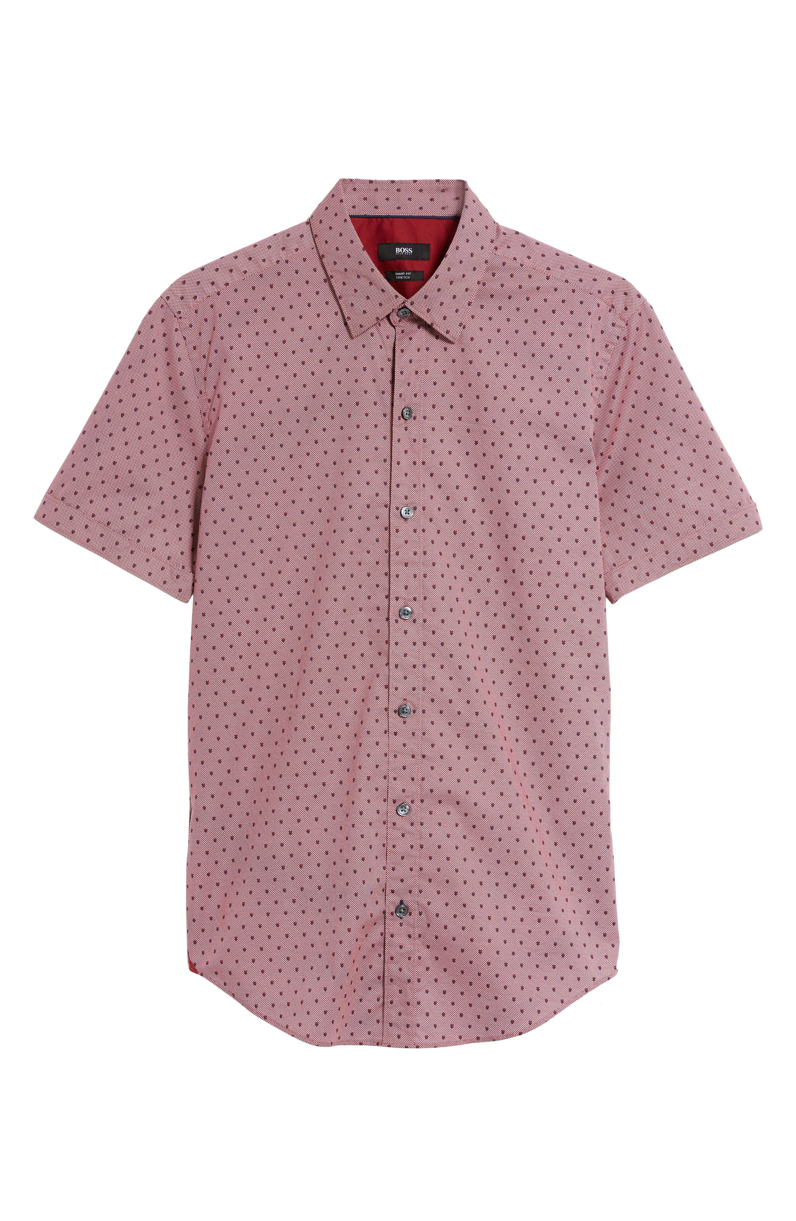 Robb Sharp Fit Print Sport Shirt,                             Alternate thumbnail 5, color,                             Red