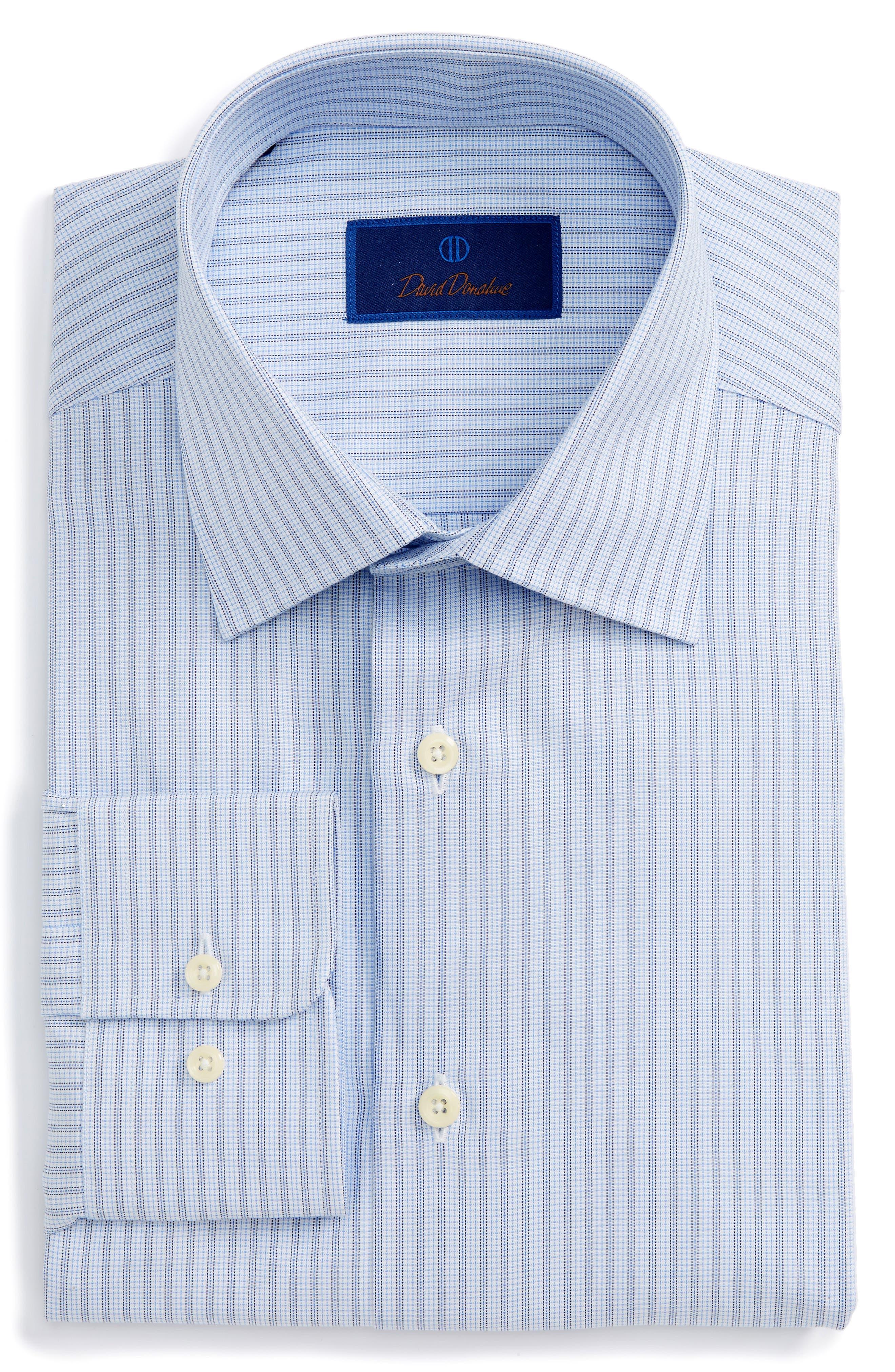 Regular Fit Stripe Dress Shirt,                         Main,                         color, Sky/ Navy