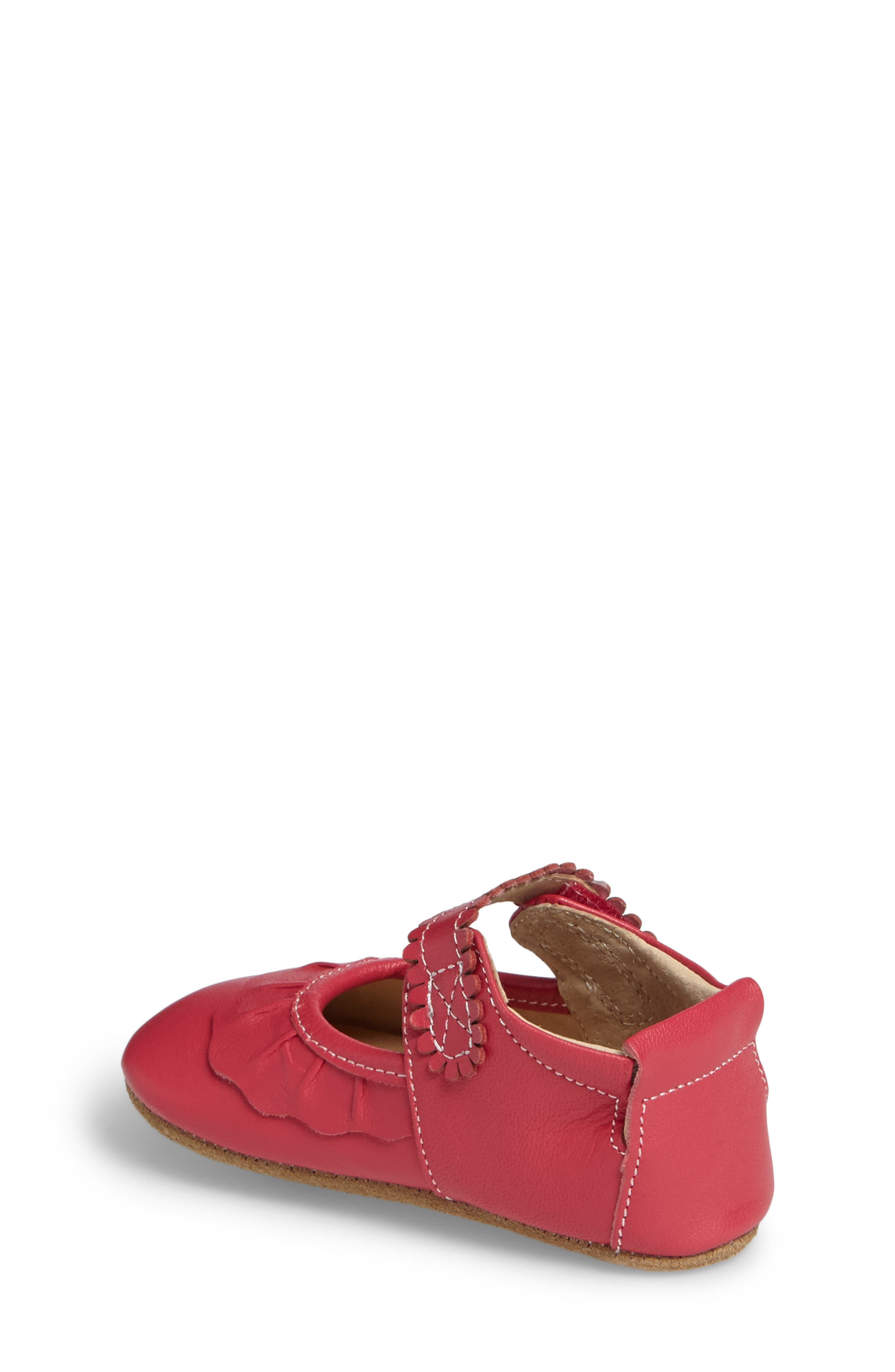 'Ruche' Mary Jane Crib Shoe,                             Alternate thumbnail 2, color,                             Hot Pink Leather