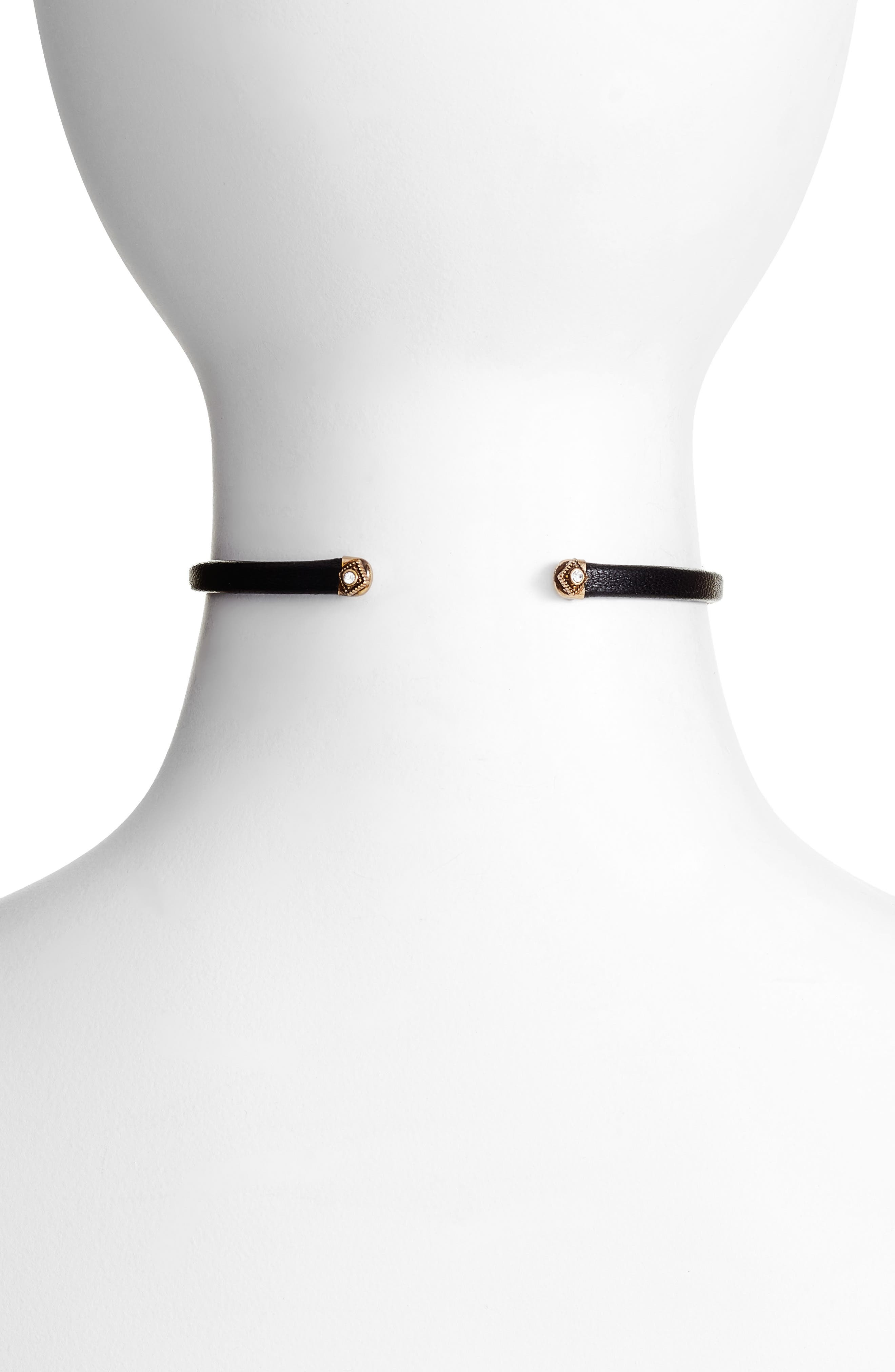 Leather Choker,                             Alternate thumbnail 2, color,                             Clear- Gold- Black