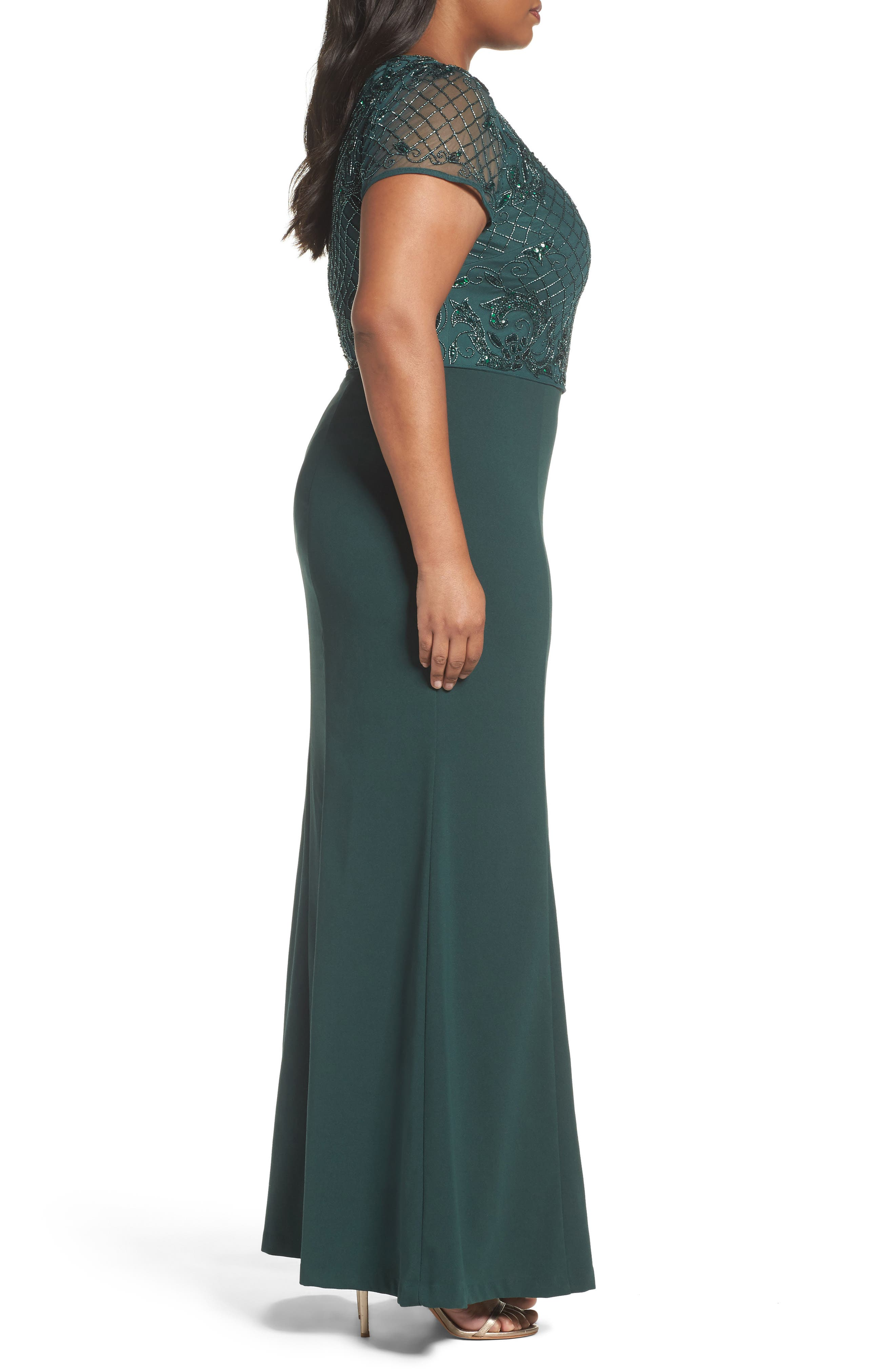 Alternate Image 3  - Adrianna Papell Beaded Crepe Gown (Plus Size)