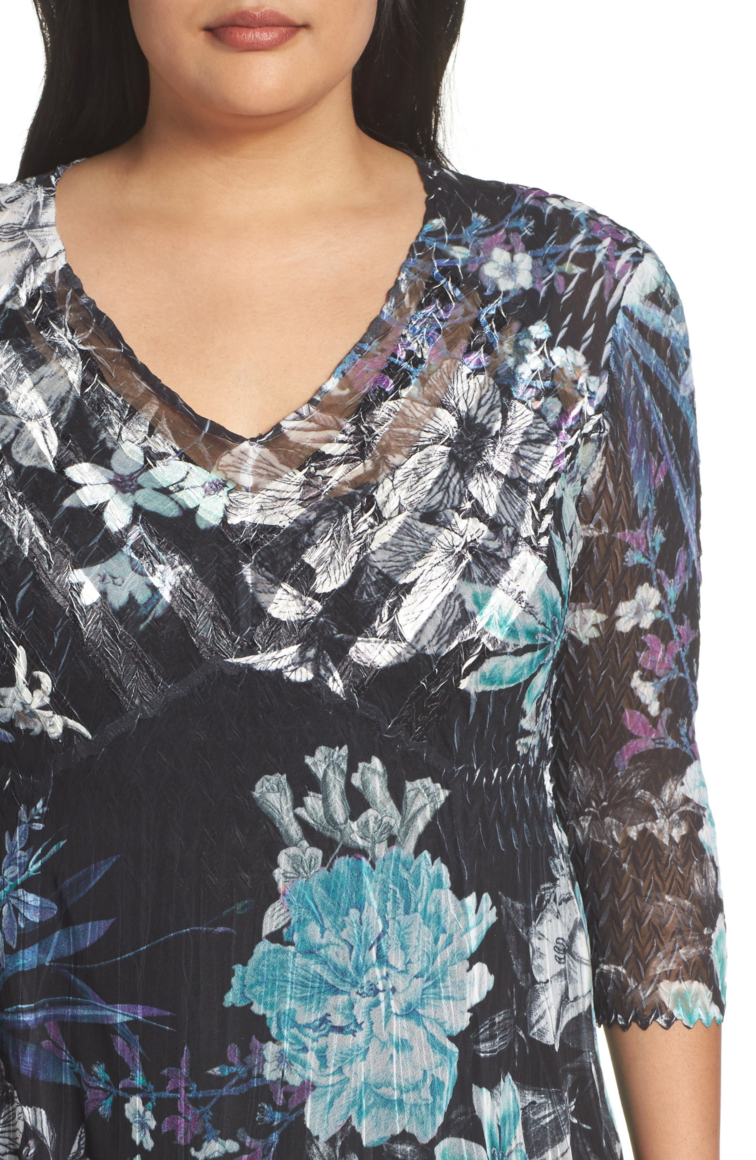 Alternate Image 4  - Komarov Print Chiffon Dress (Plus Size)