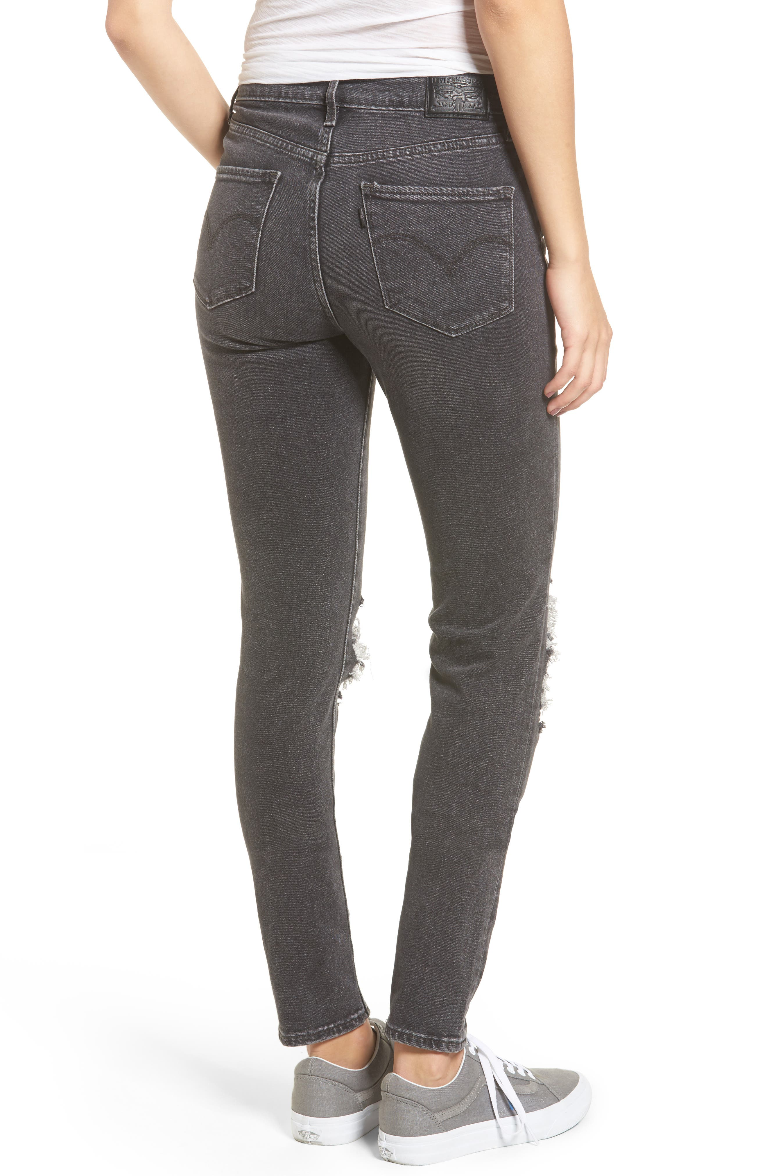 Alternate Image 2  - Levi's® 721 Ripped High Waist Skinny Jeans (Rugged Black)