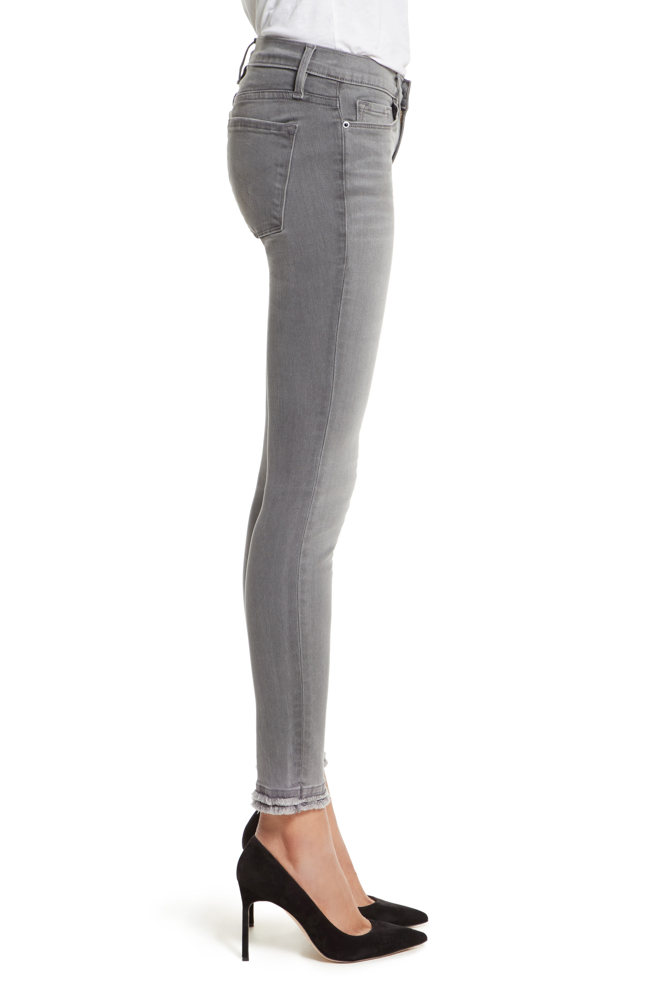 Le Skinny De Jeanne Double Hem Skinny Jeans,                             Alternate thumbnail 3, color,                             Maralago