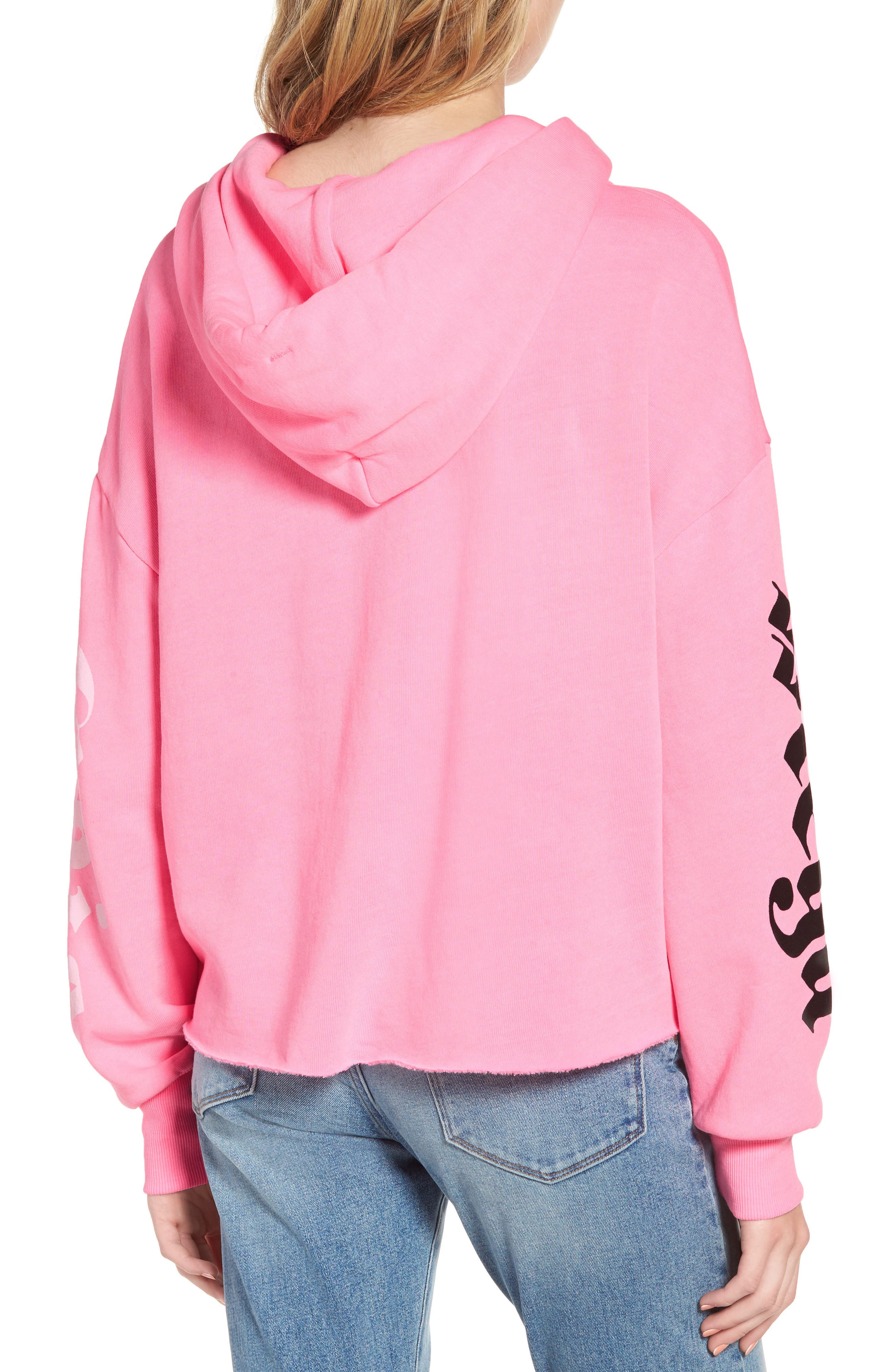 Mega Chic Freddy Hoodie,                             Alternate thumbnail 3, color,                             Neon Sign Pink