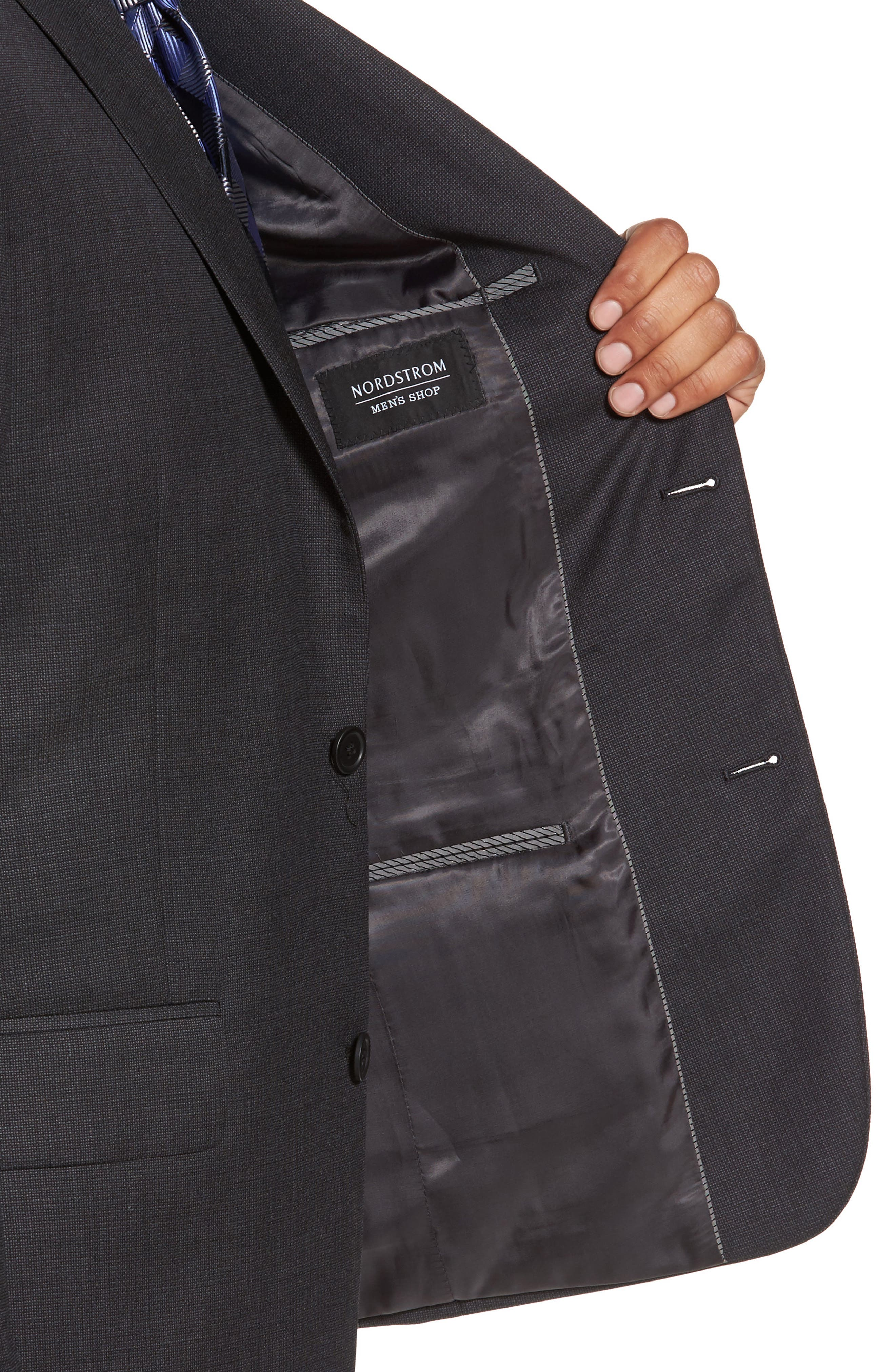 Classic Fit Solid Wool Suit,                             Alternate thumbnail 4, color,                             Charcoal