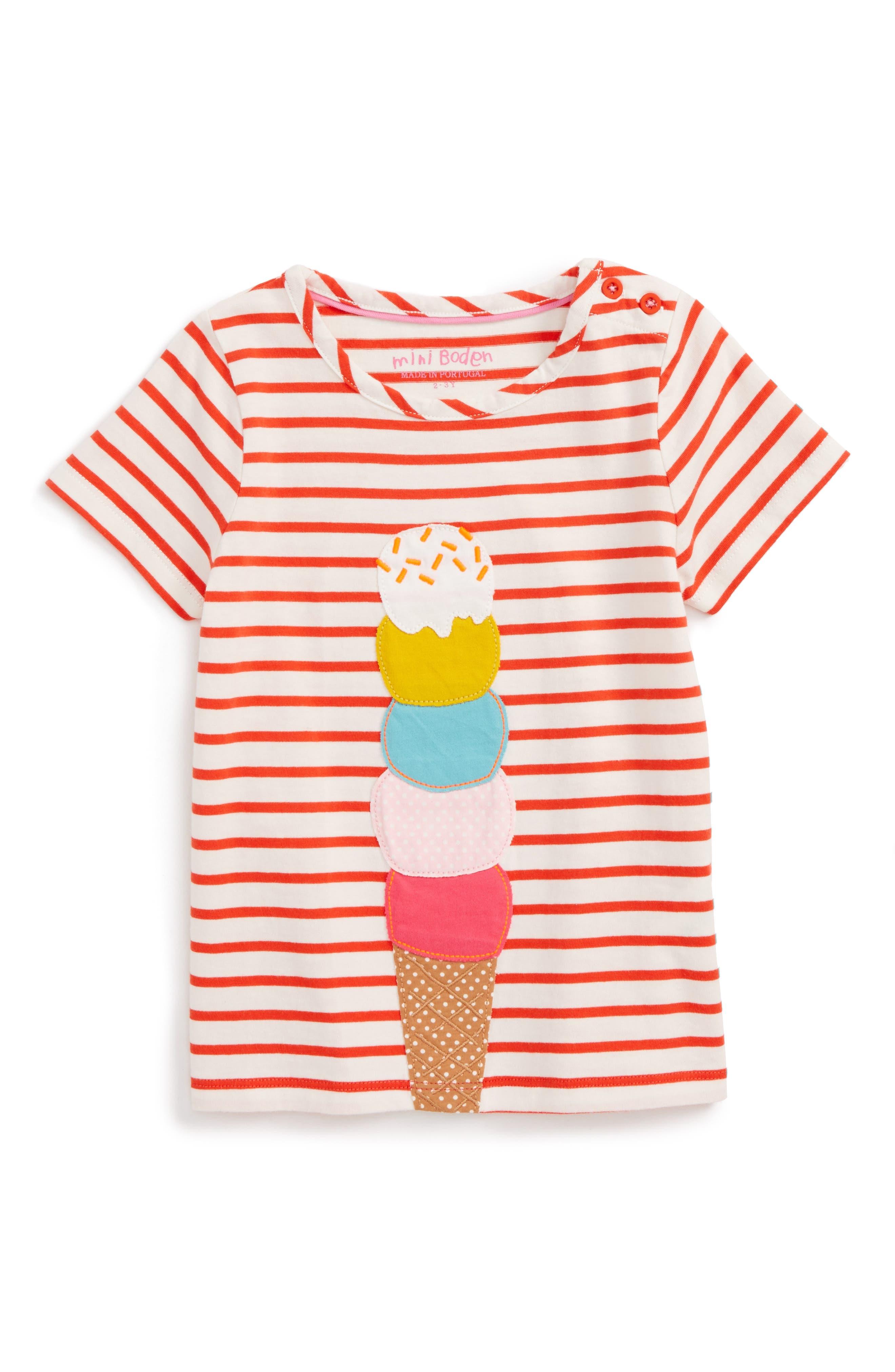 Main Image - Mini Boden Stripe Ice Cream Tee (Toddler Girls, Little Girls & Big Girls)