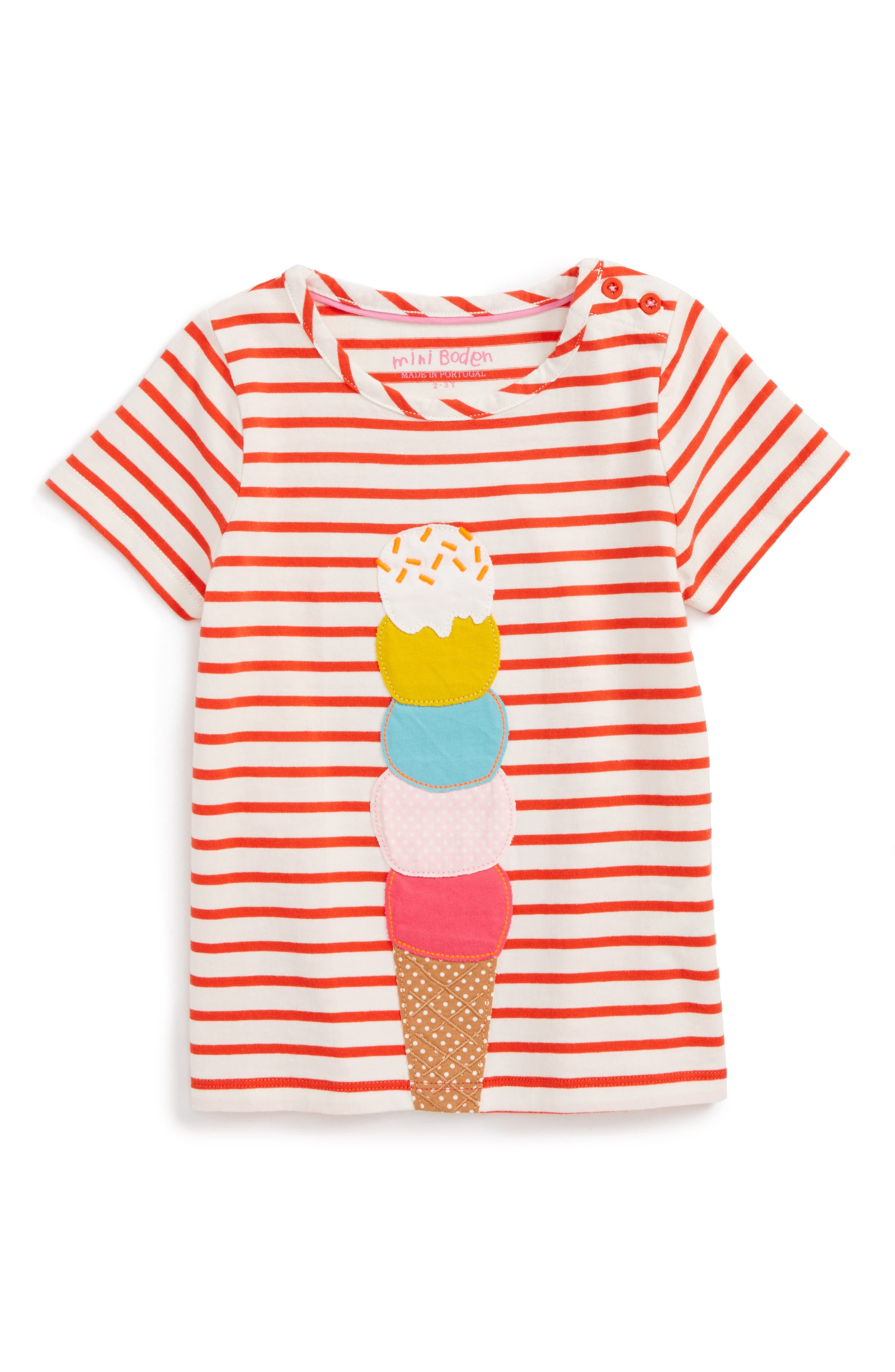 Mini Boden Stripe Ice Cream Tee (Toddler Girls, Little Girls & Big Girls)