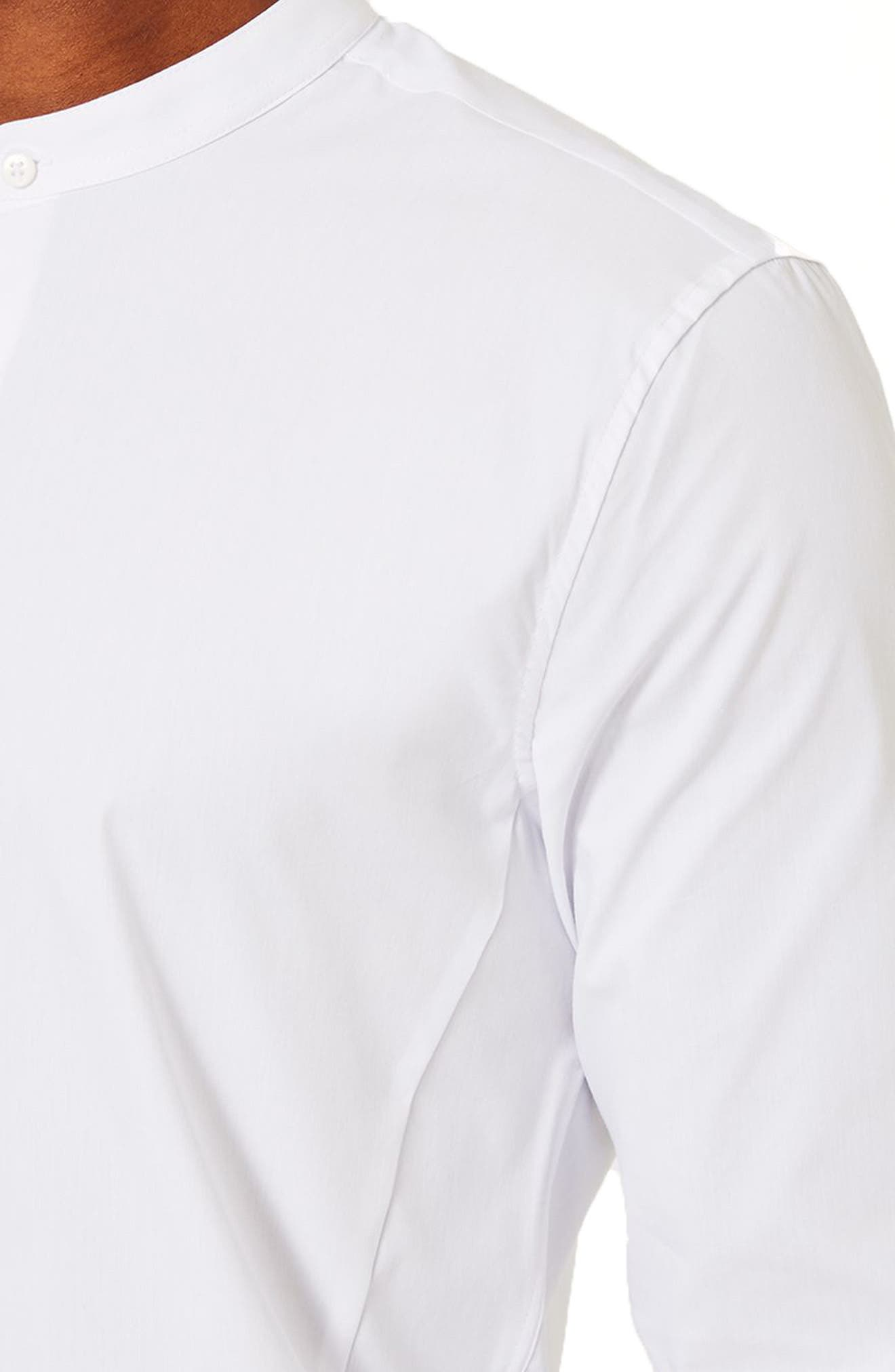 Band Collar Skinny Fit Dress Shirt,                             Alternate thumbnail 2, color,                             White
