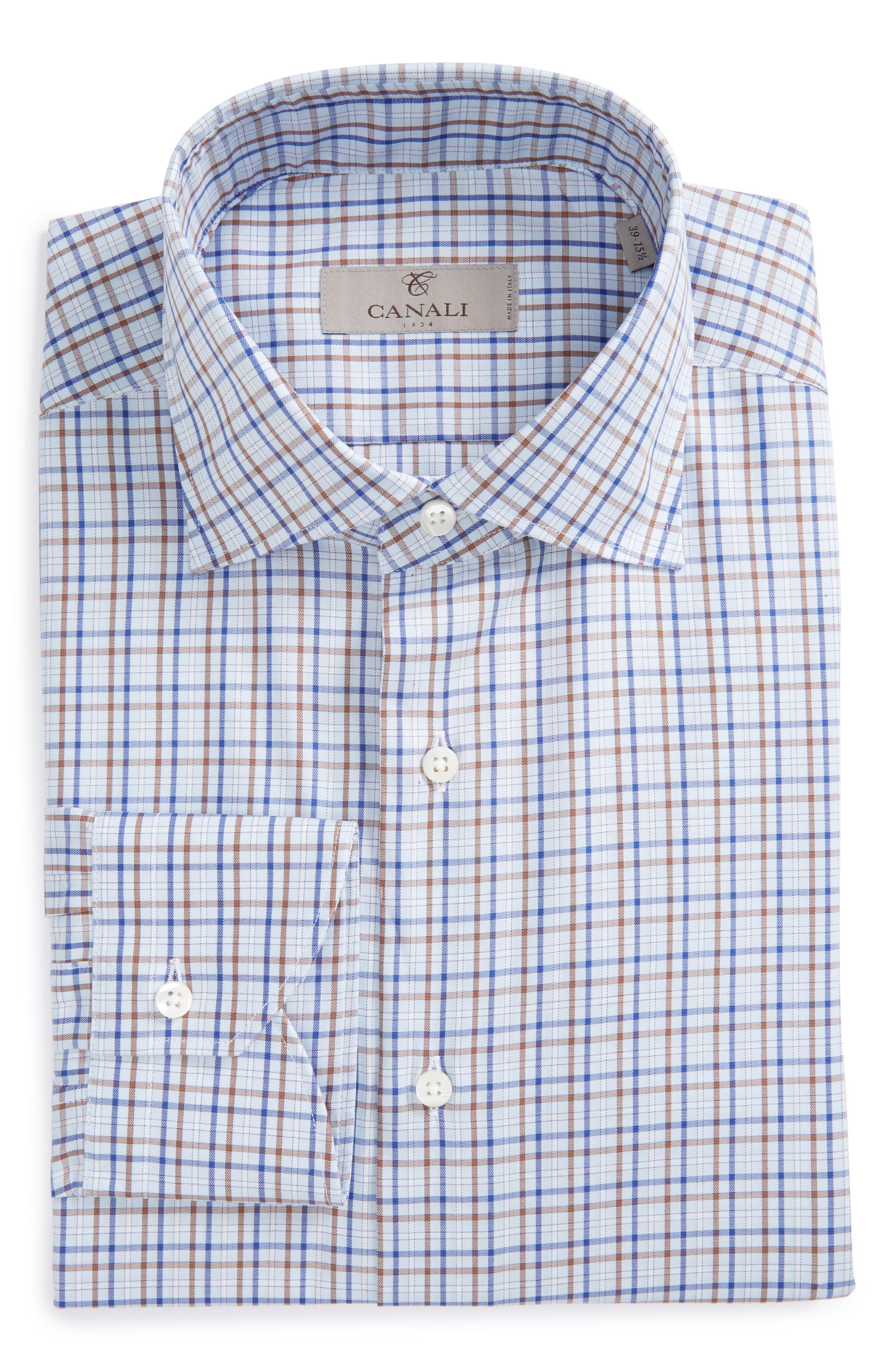 Regular Fit Check Dress Shirt,                         Main,                         color, Blue/ Brown Check