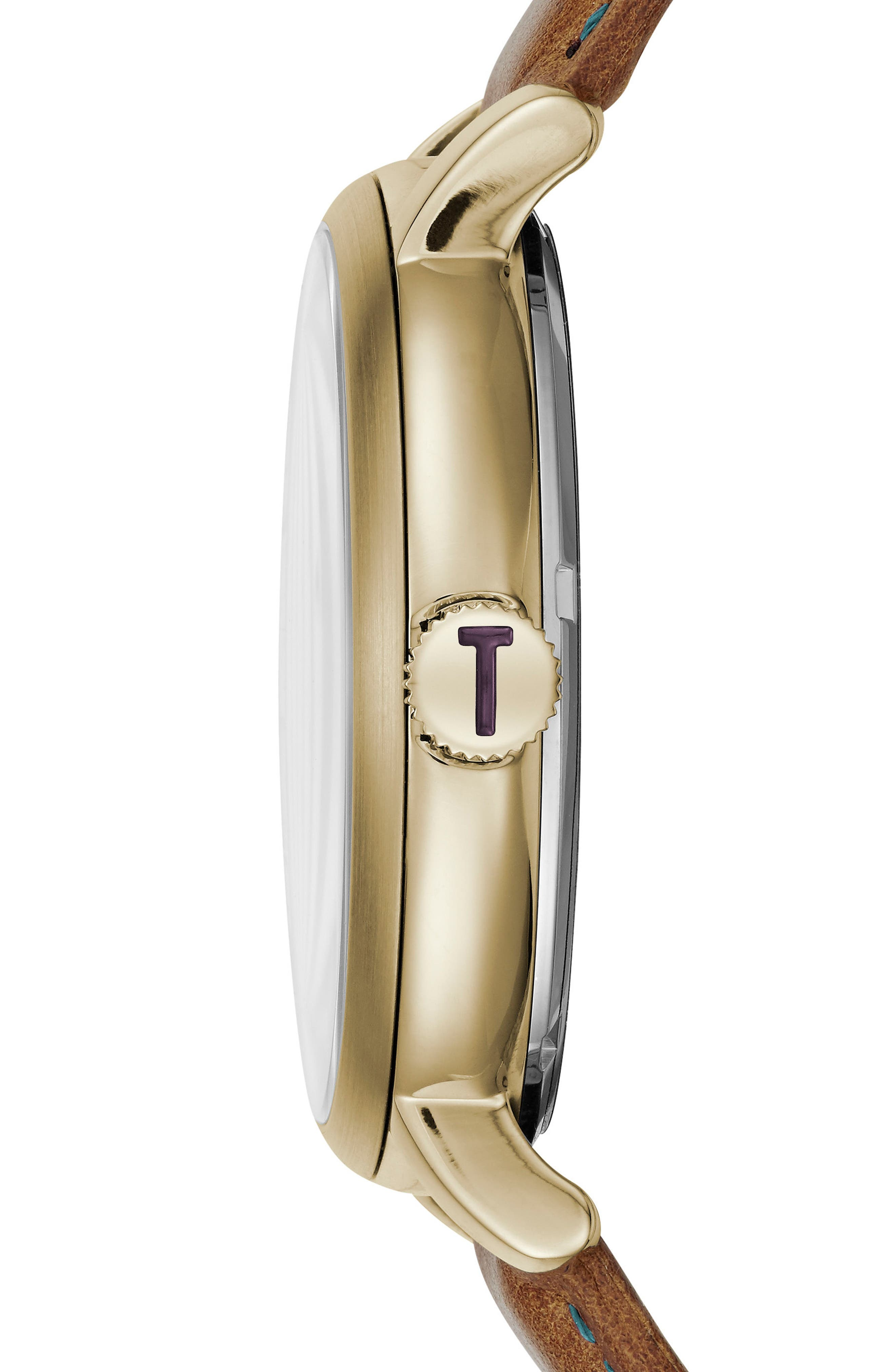 Trent Leather Strap Watch, 44mm,                             Alternate thumbnail 3, color,                             White/ Light Brown