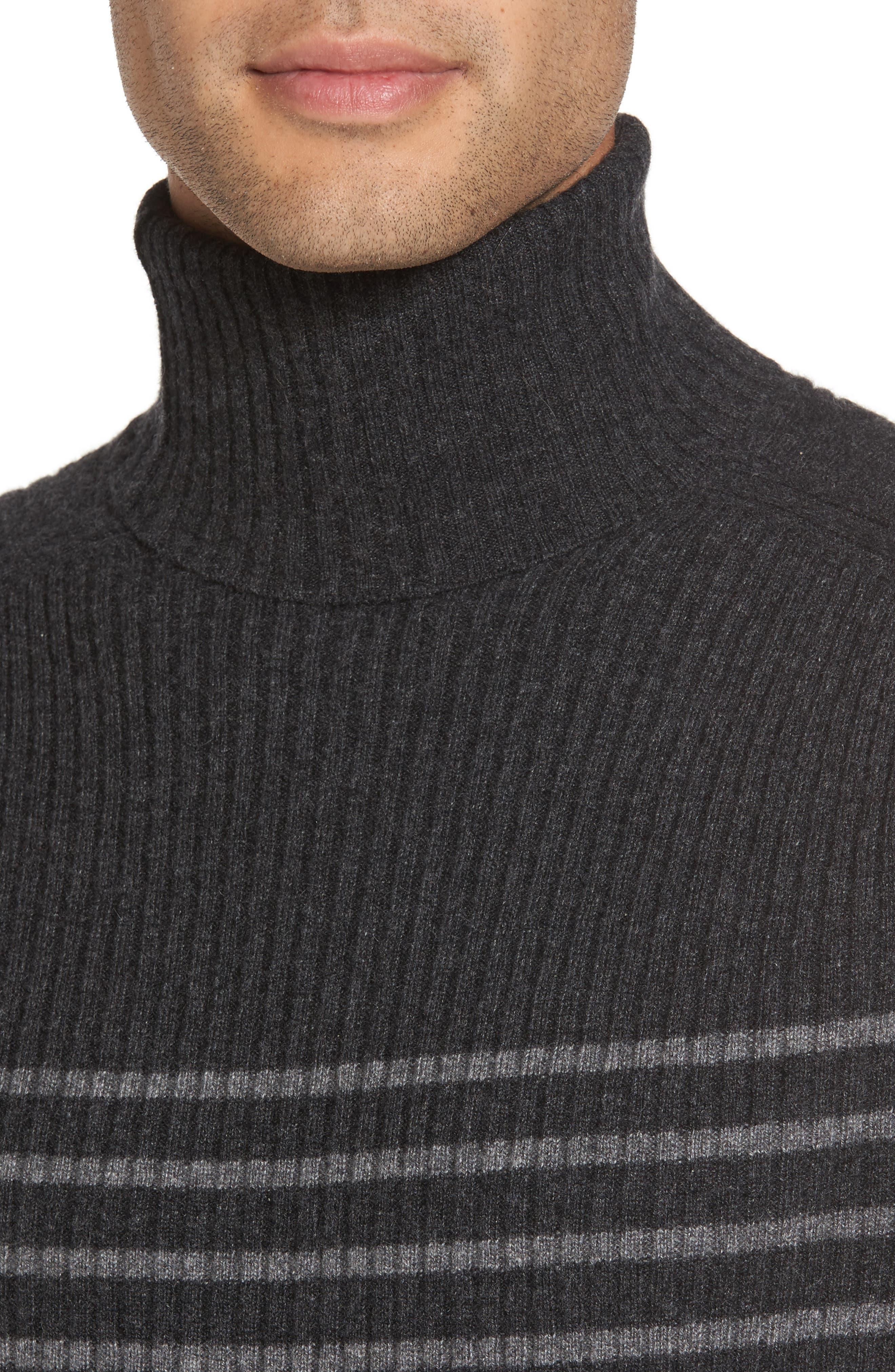 Alternate Image 4  - Vince Regular Fit Breton Stripe Cashmere Turtleneck Sweater
