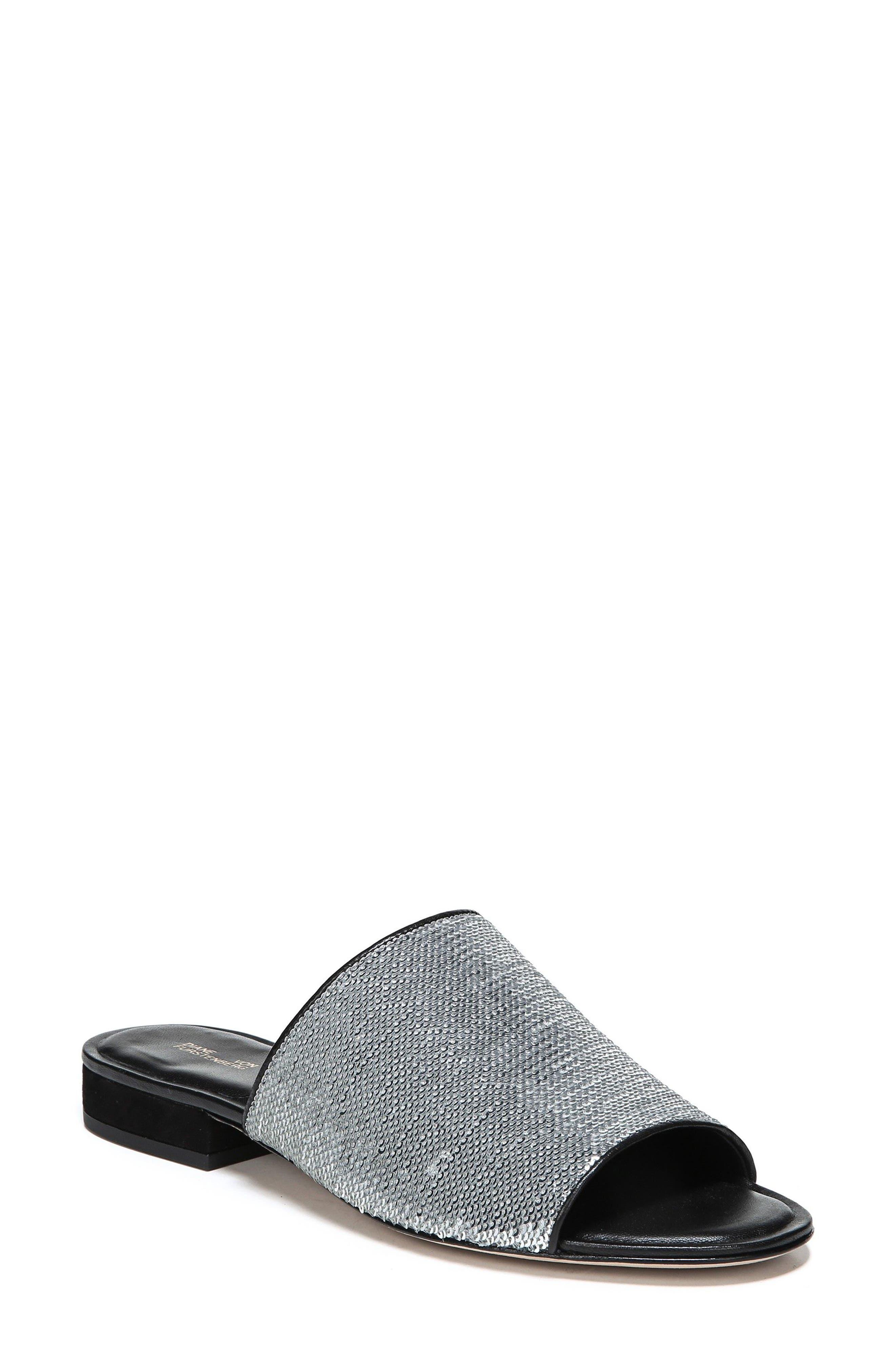 Samassi 1 Slide Sandal,                         Main,                         color, Silver Sequins
