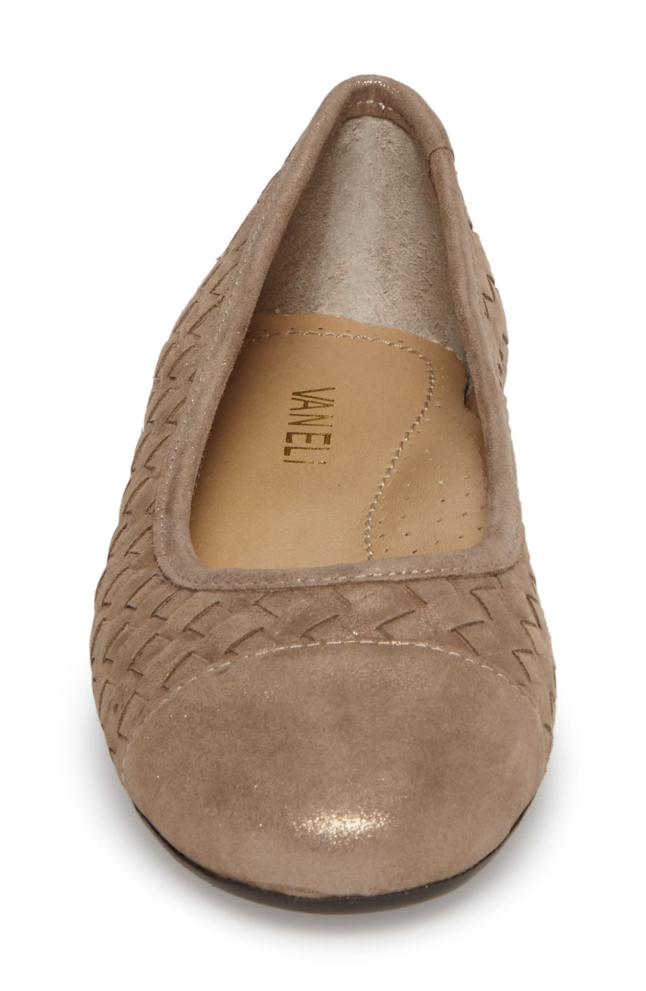 Shera Woven Skimmer Flat,                             Alternate thumbnail 4, color,                             Taupe Suede