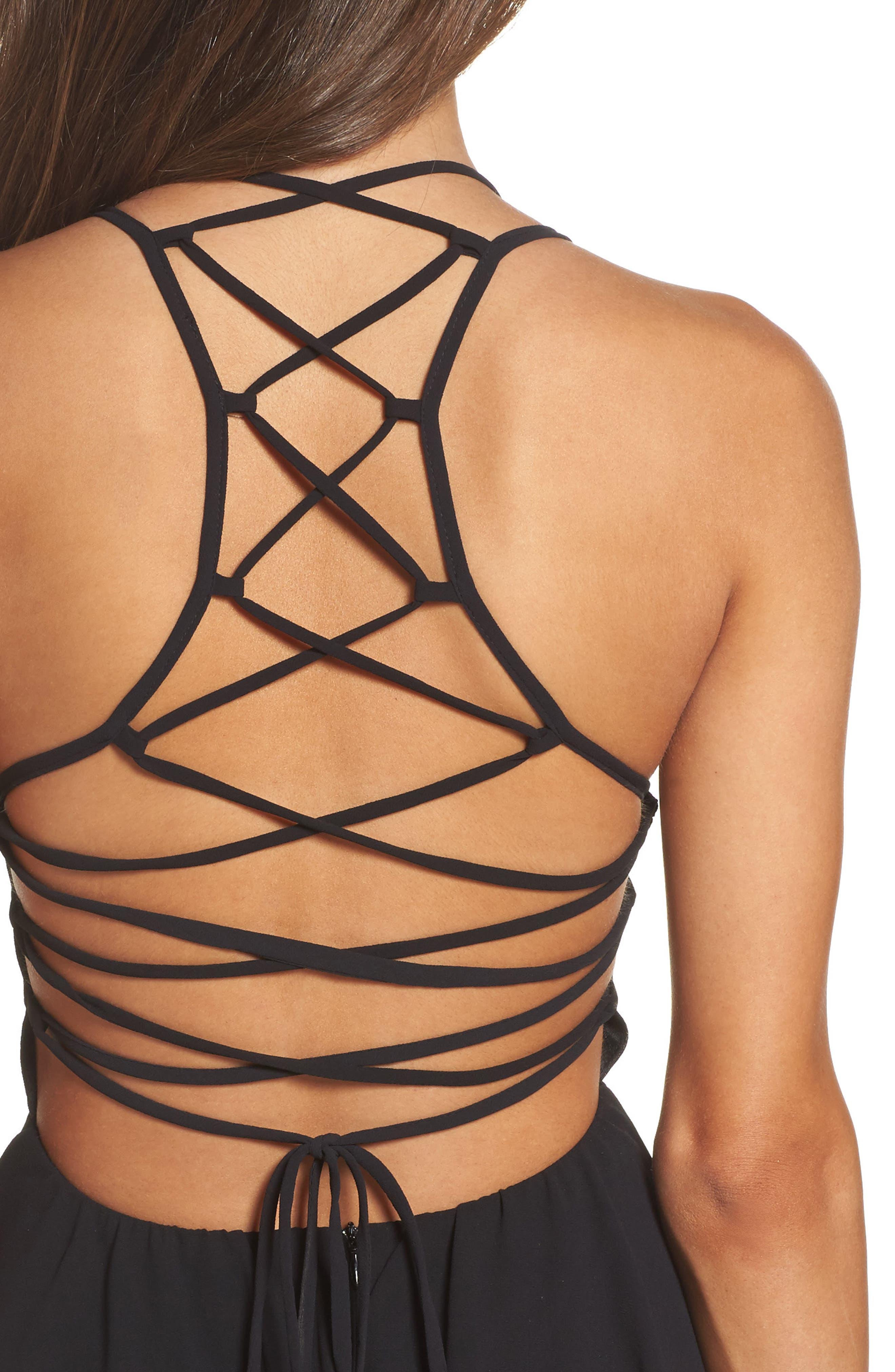 Good Deeds Lace-Up Skater Dress,                             Alternate thumbnail 4, color,                             Black