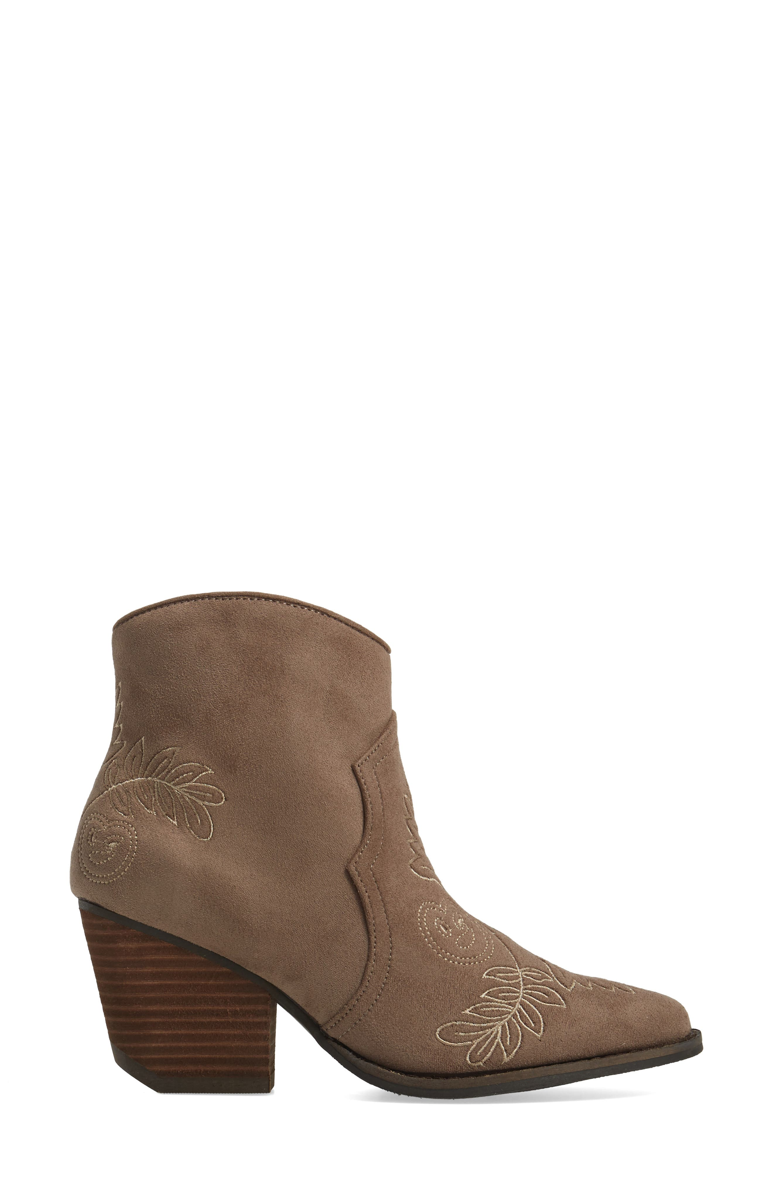 Axis Embroidered Bootie,                             Alternate thumbnail 3, color,                             Taupe Suede