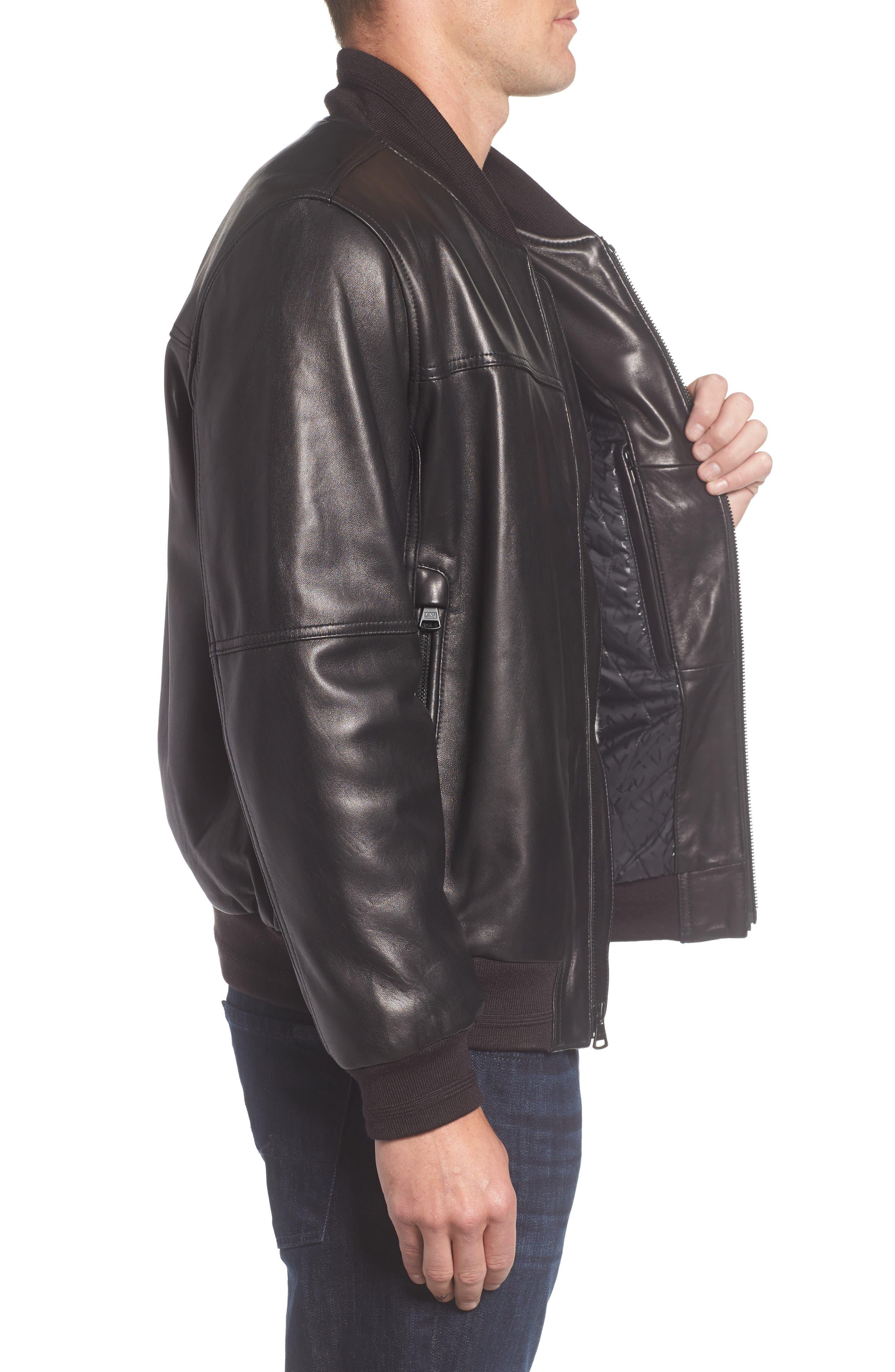 Summit Leather Bomber Jacket,                             Alternate thumbnail 3, color,                             Black