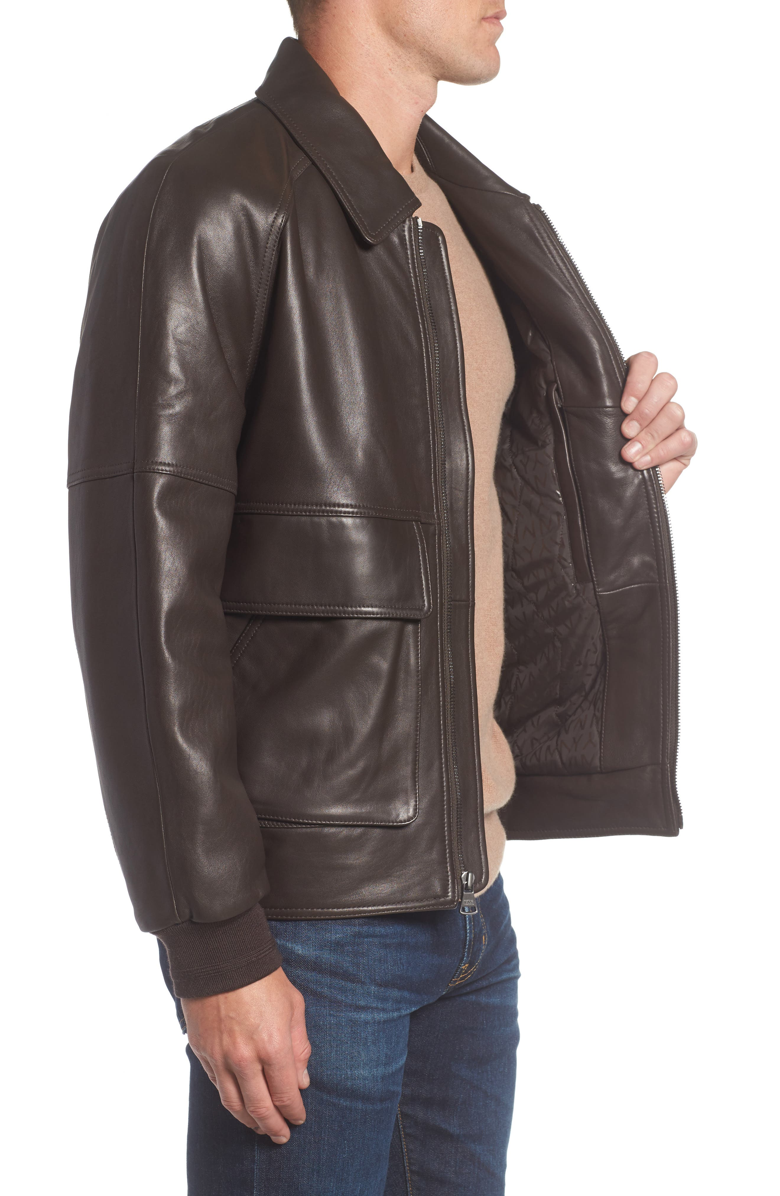 Alternate Image 3  - Andrew Marc Lambskin Leather Aviator Jacket