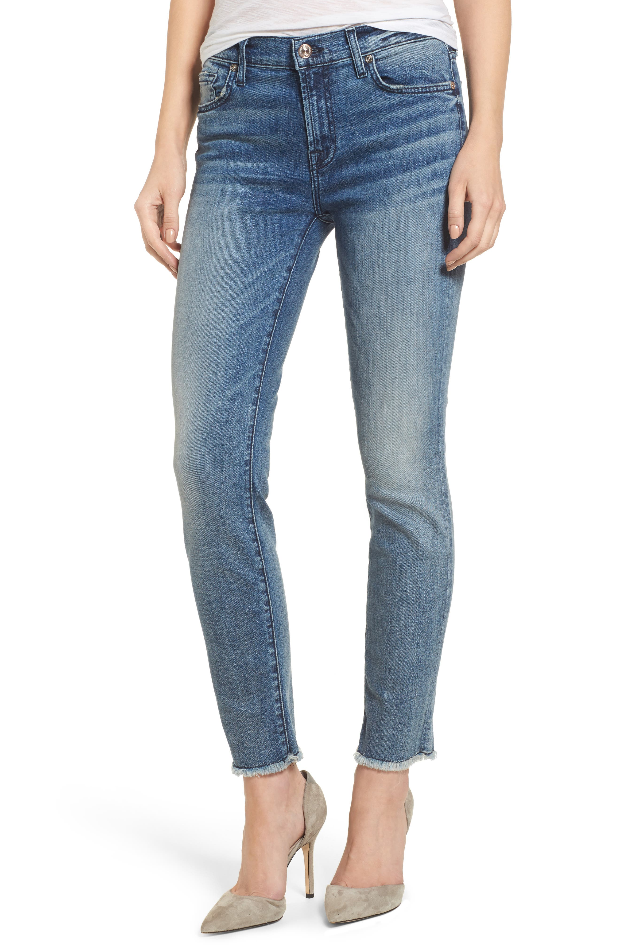 Main Image - 7 For All Mankind® Roxanne Ankle Straight Leg Jeans (Wall Street Heritage)