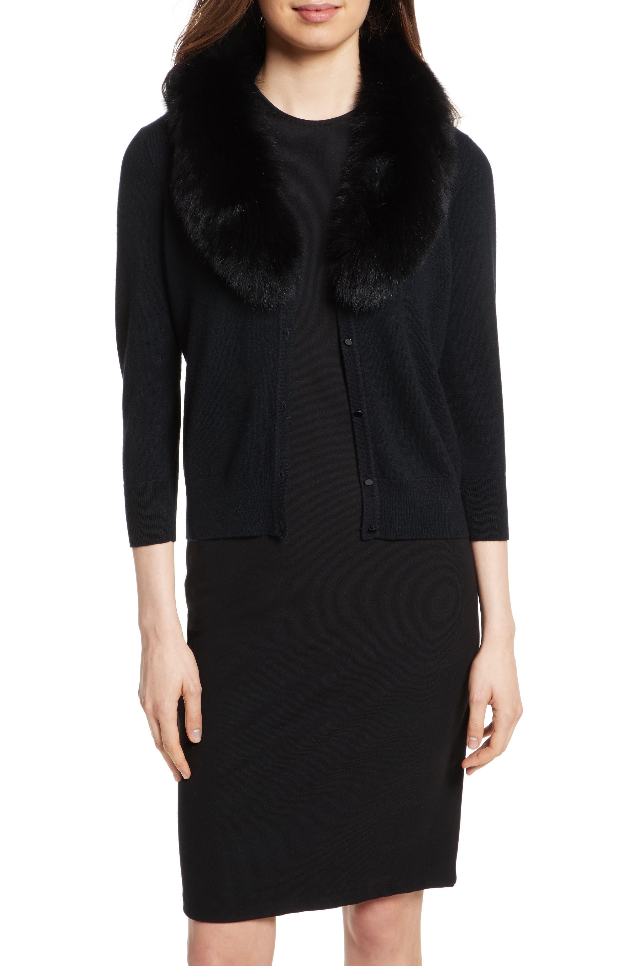 Genuine Fox Fur Collar Cardigan,                         Main,                         color, Black