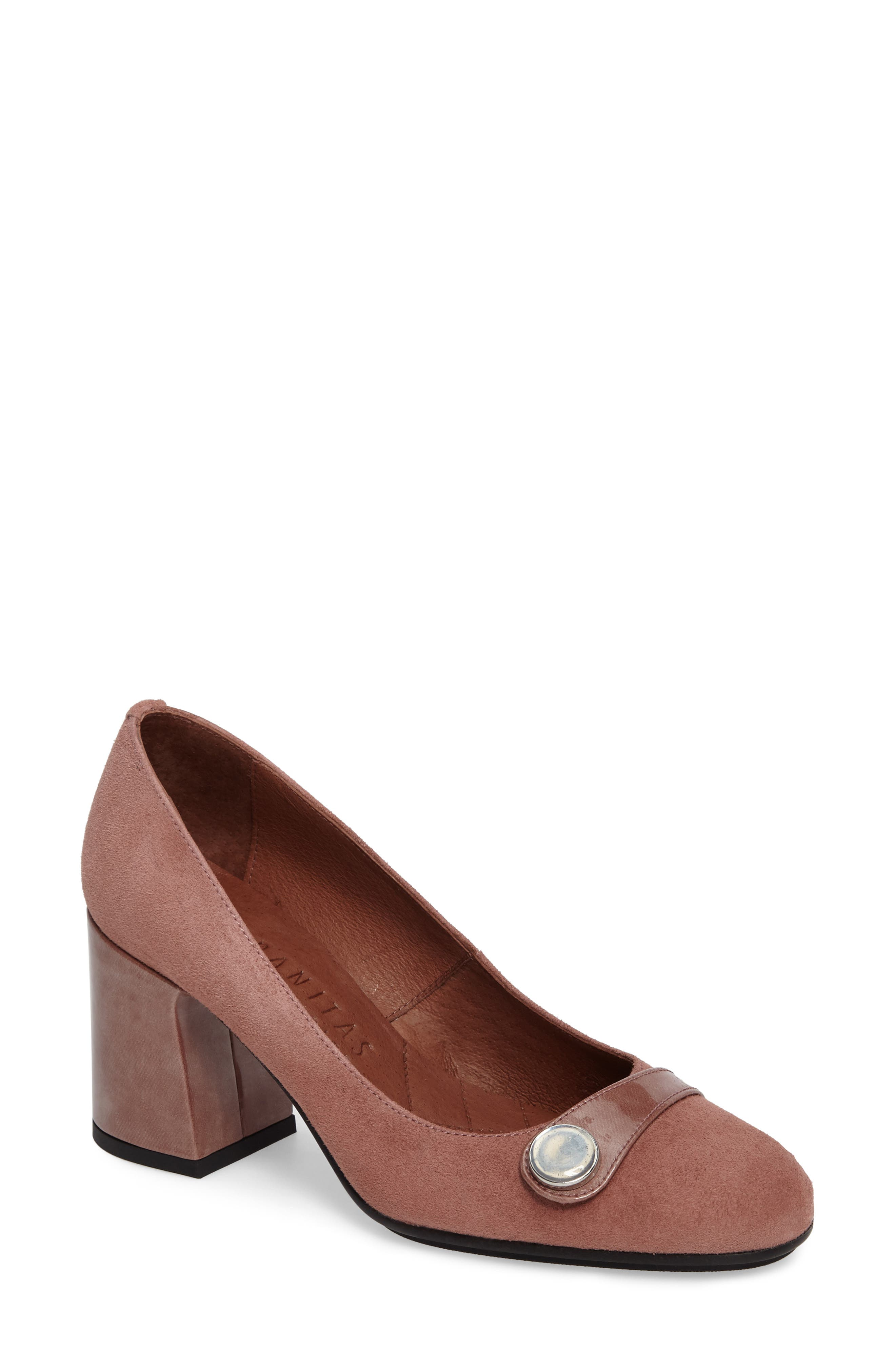 Gretchen Pump,                             Main thumbnail 1, color,                             Rose Leather