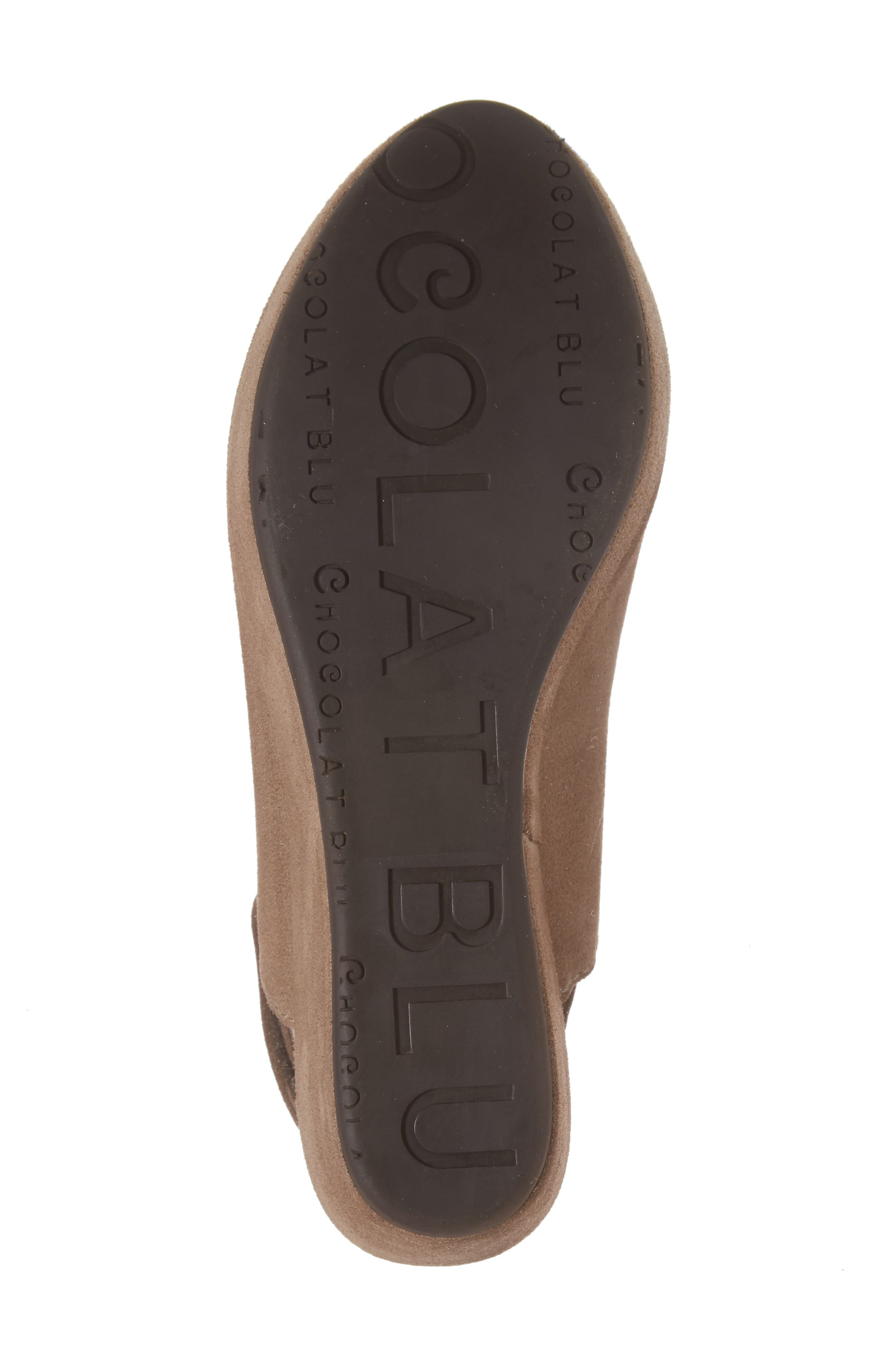 Cutout Wedge Sandal,                             Alternate thumbnail 6, color,                             Taupe Suede