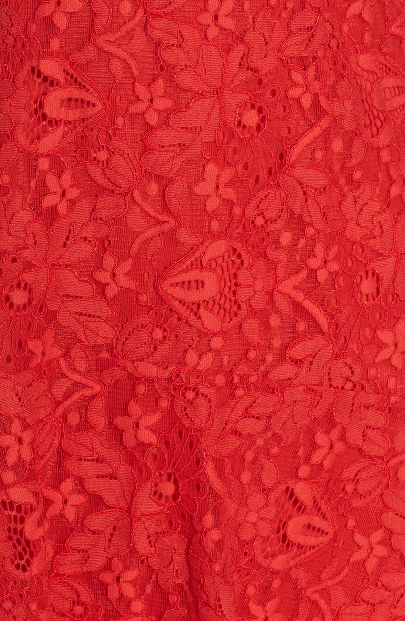 Lace Fit & Flare Dress,                             Alternate thumbnail 5, color,                             Red