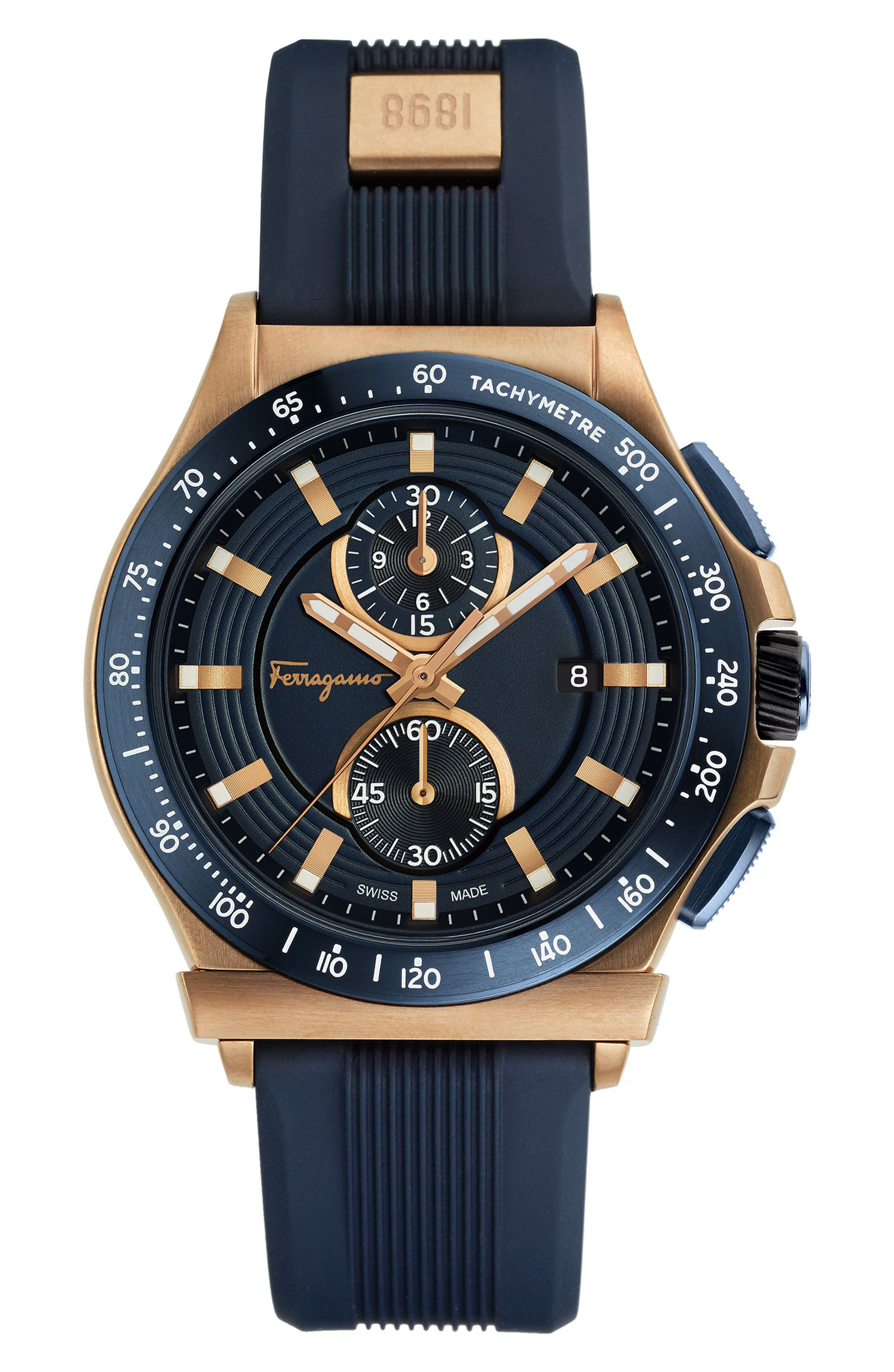 1898 Sport Chronograph Silicone Strap Watch, 44mm,                         Main,                         color, Navy/ Rose Gold