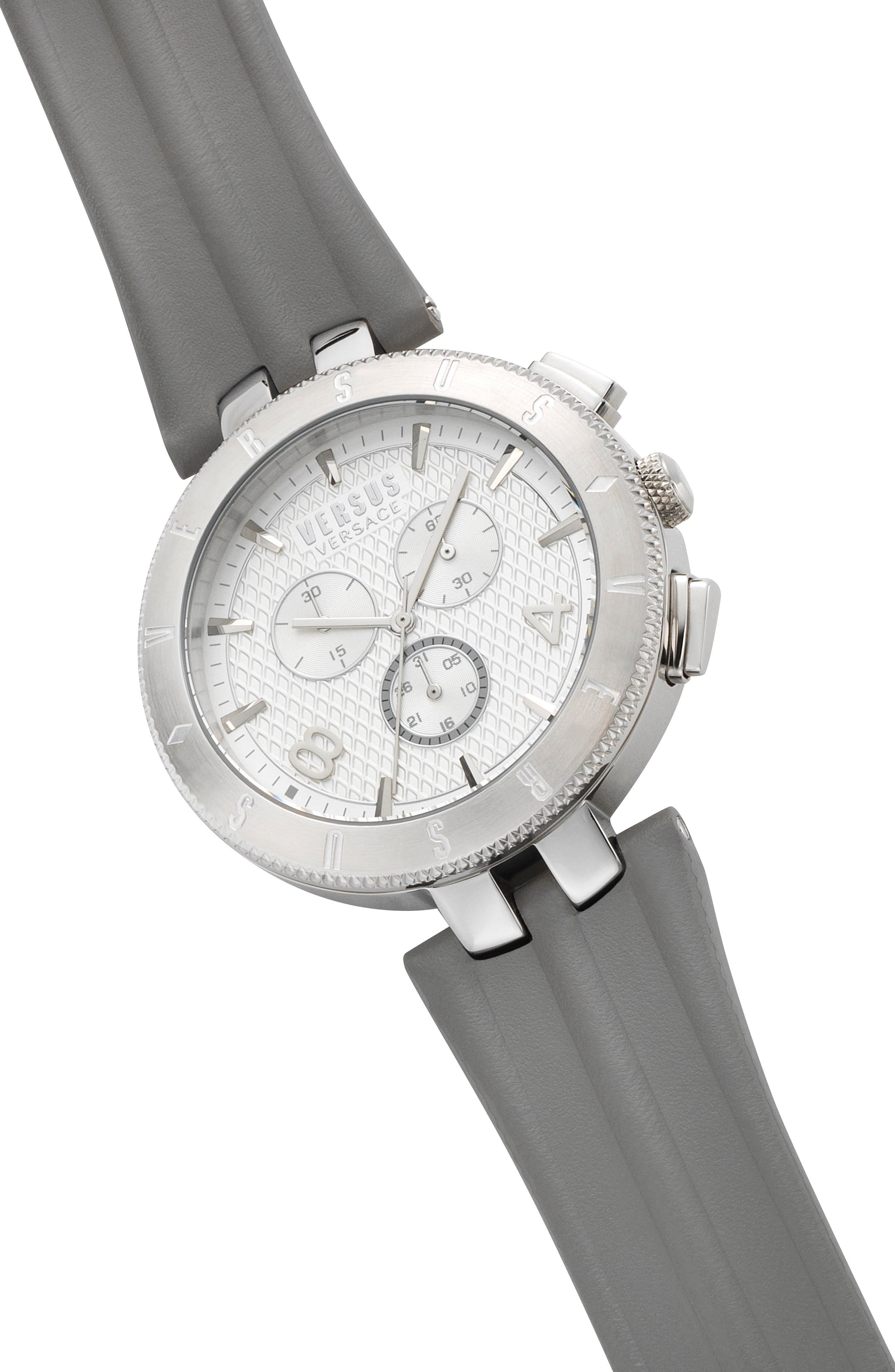 Alternate Image 3  - Versus by Versace Logo Chronograph Leather Strap Watch, 44mm