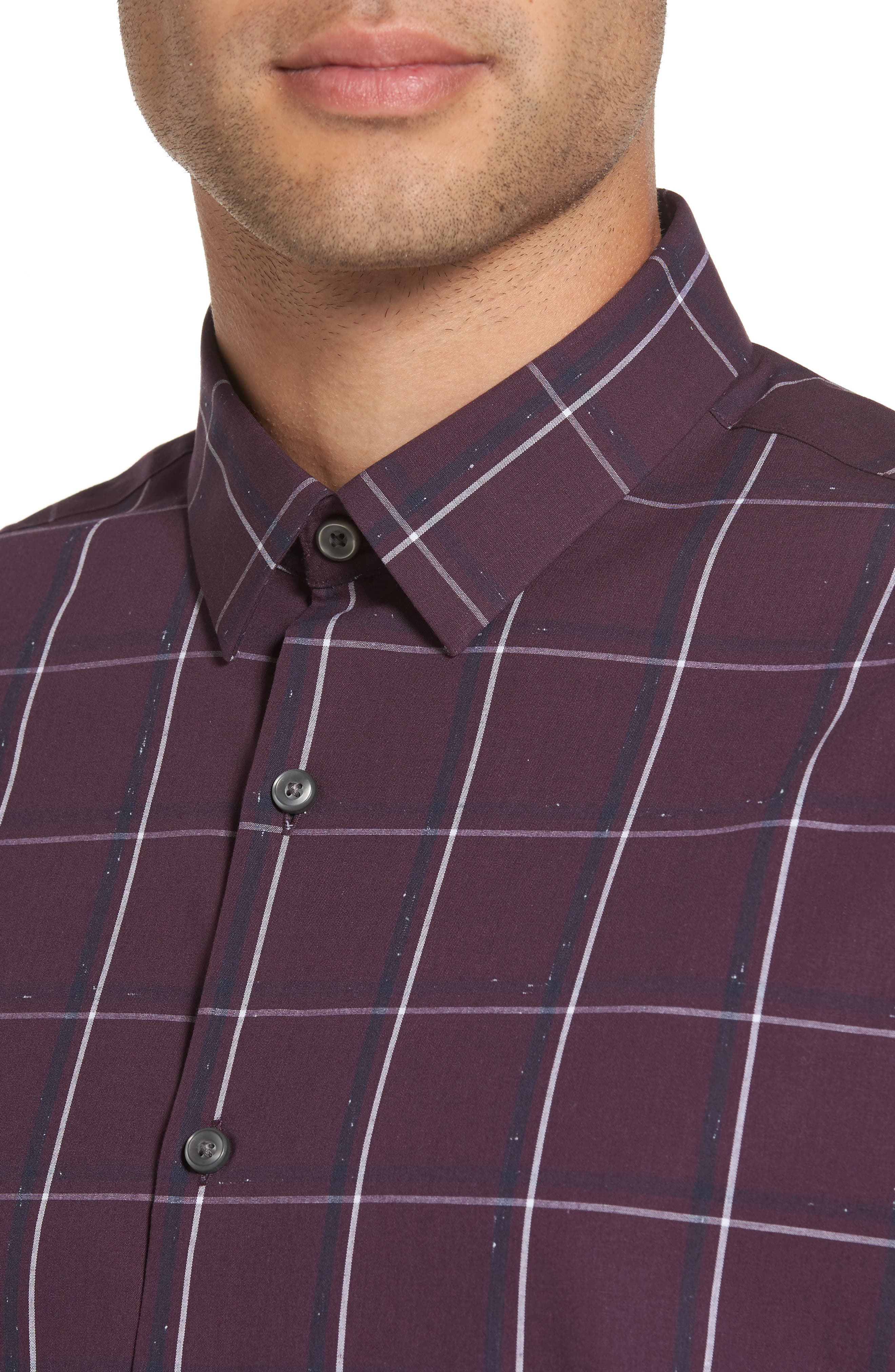 Check Sport Shirt,                             Alternate thumbnail 4, color,                             Purple Plum White Grid