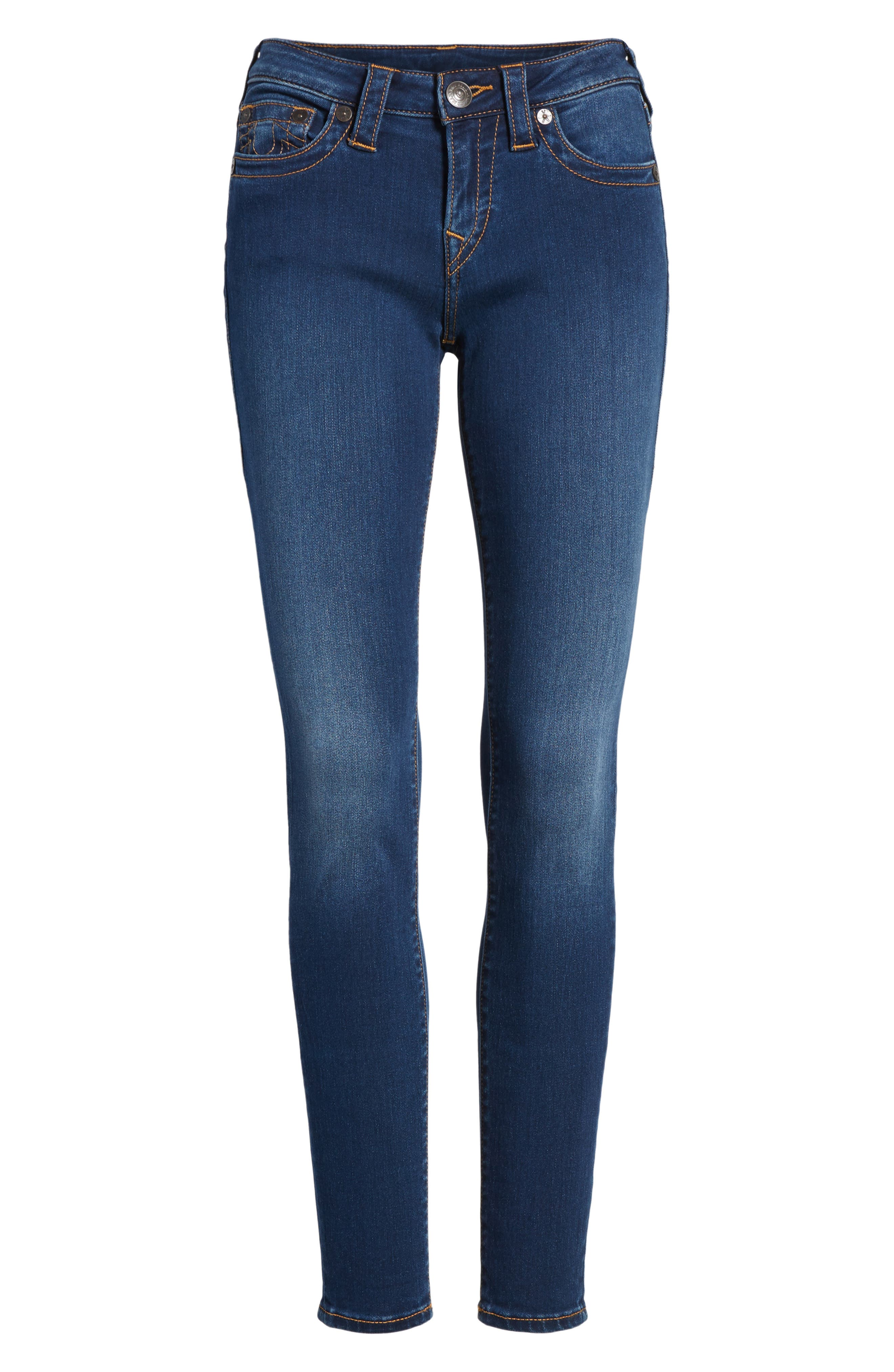 Halle Mid Rise Skinny Jeans,                             Alternate thumbnail 6, color,                             Lands End Indigo