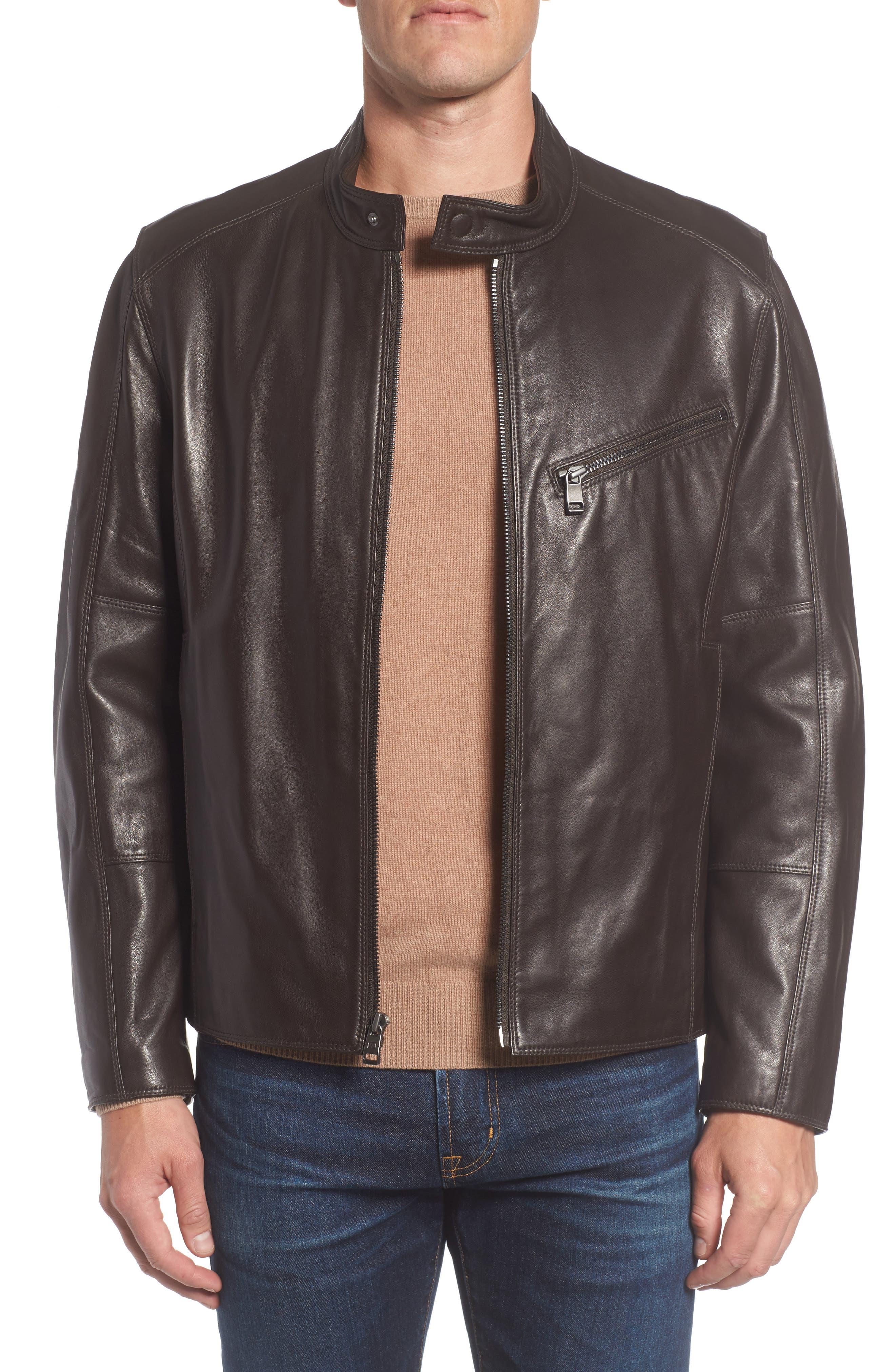 Gibson Slim Leather Moto Jacket,                         Main,                         color, Espresso