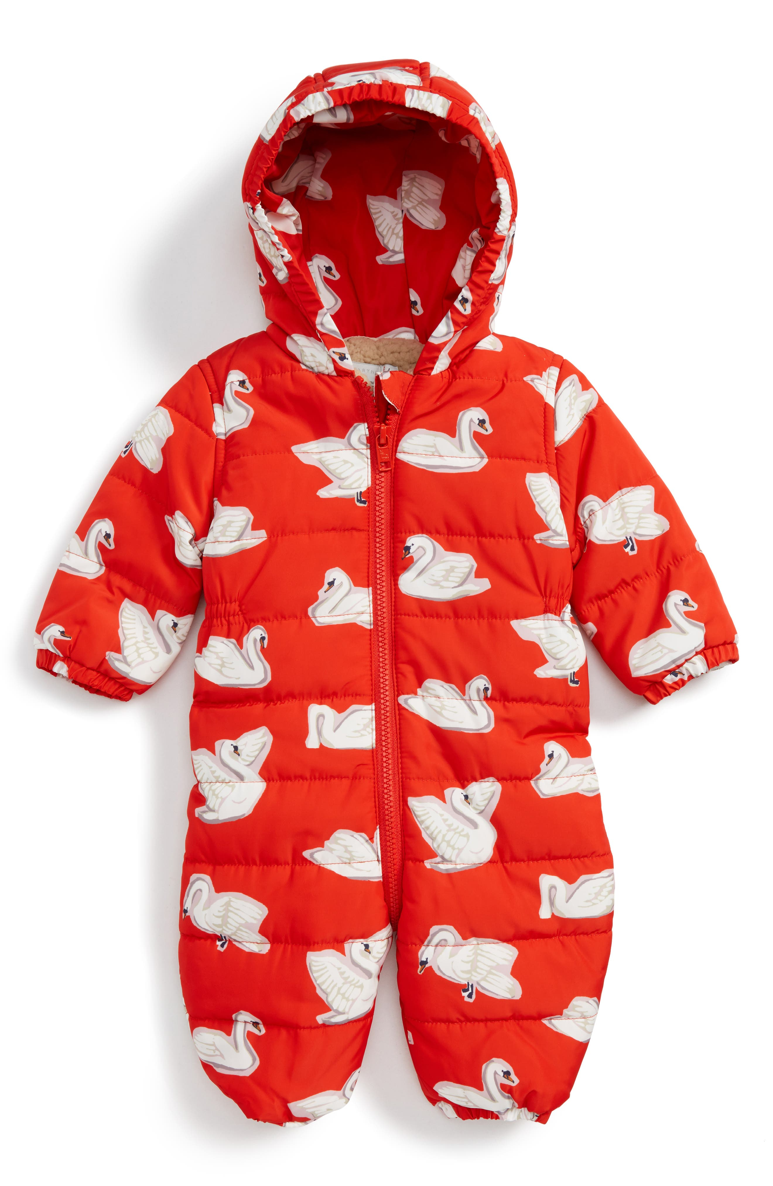 Puddle Swan Hooded Snowsuit,                             Main thumbnail 1, color,                             Red