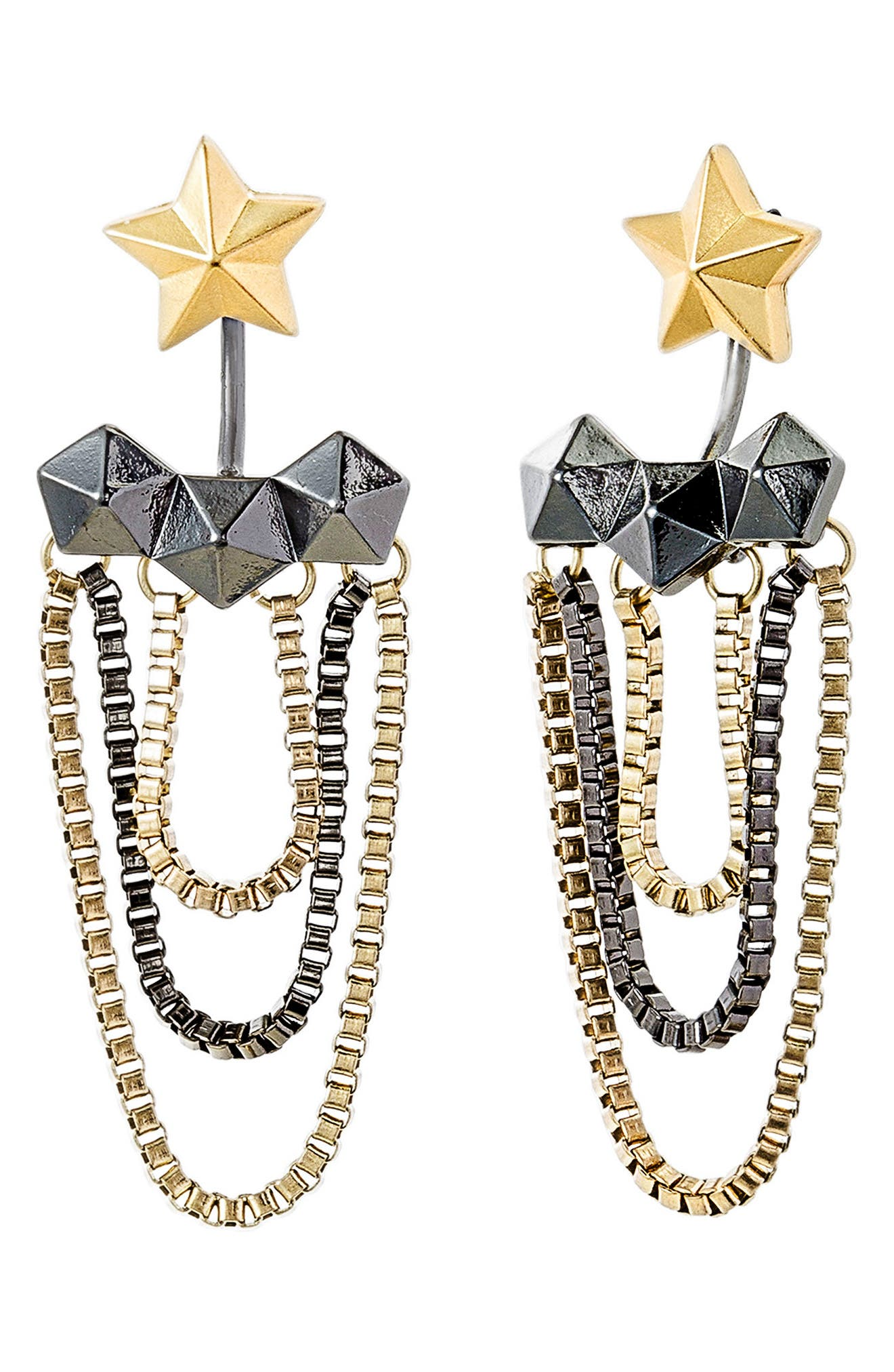 STEVE MADDEN Star Hexagon Tassel Drop Earrings