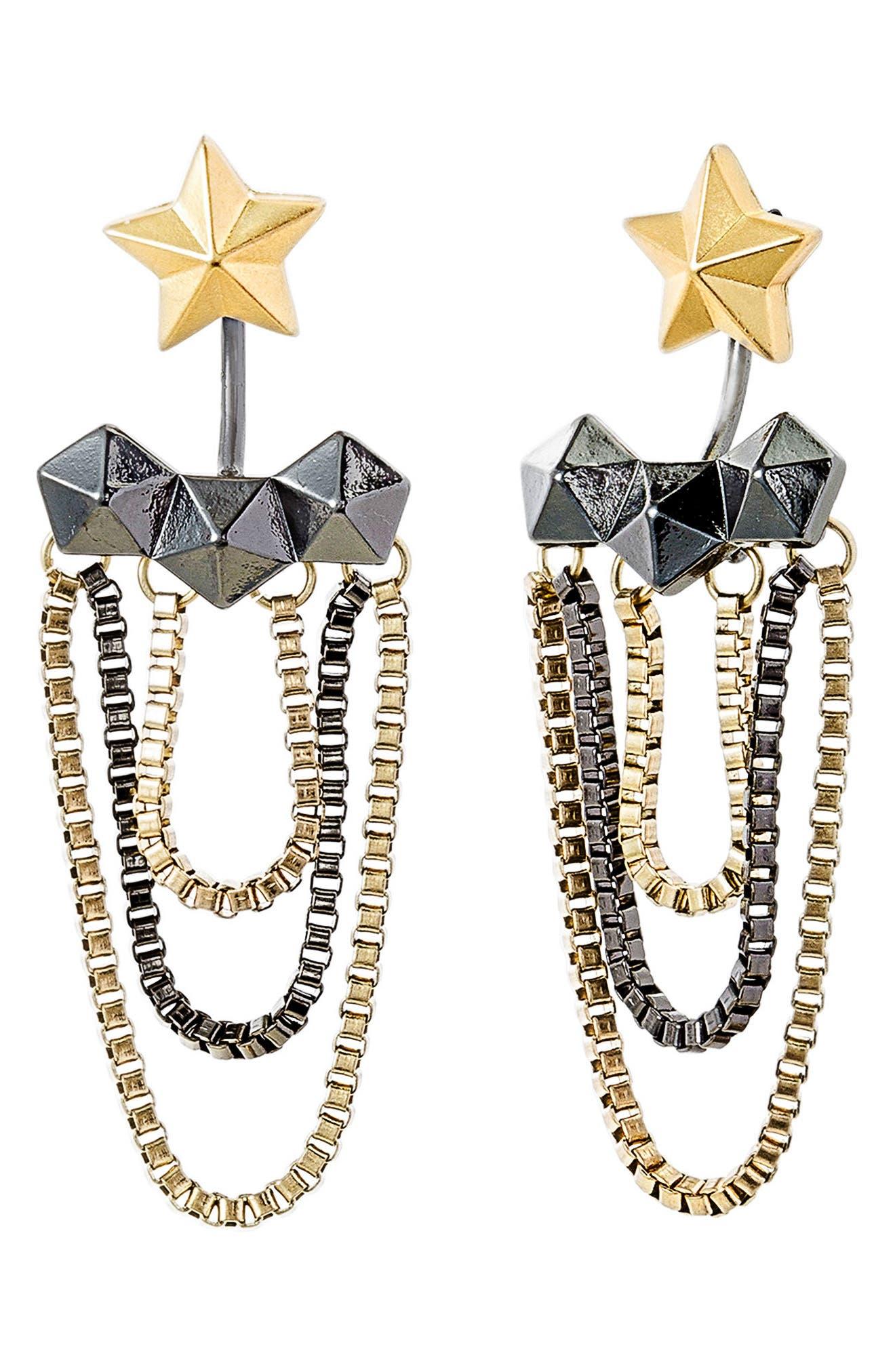 Steve Madden Star Hexagon Tassel Drop Earrings