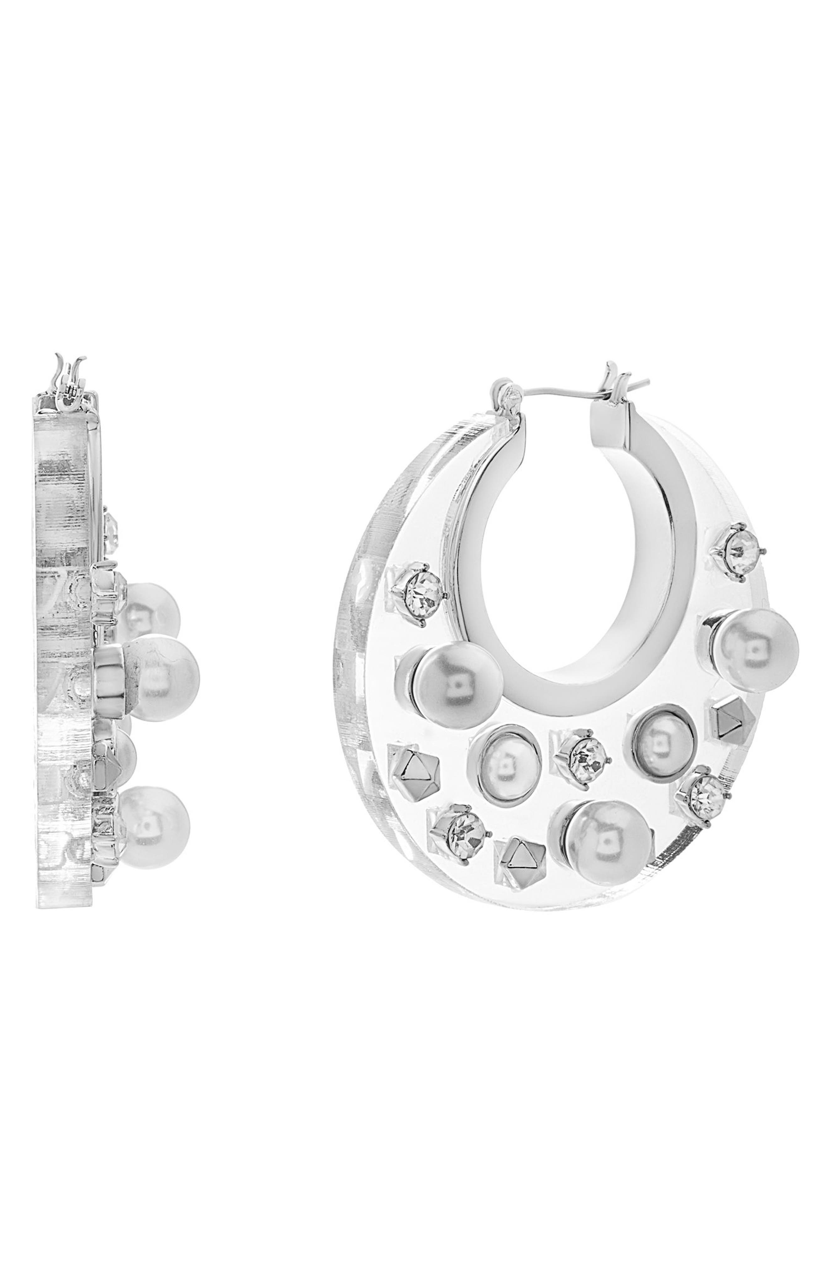 Jewel Hoop Earrings,                         Main,                         color, Ivory