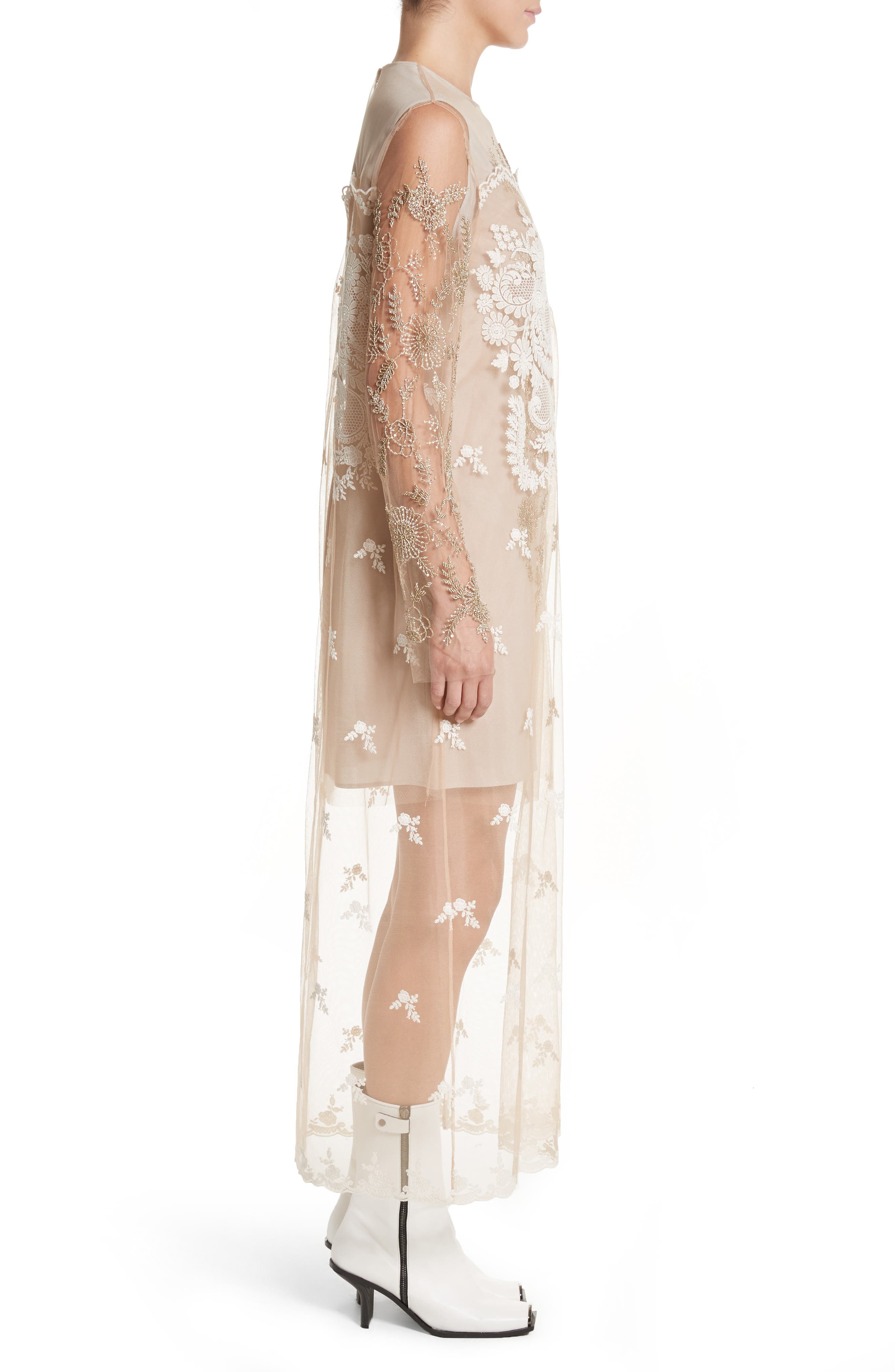 Embroidered Tulle Lace Dress,                             Alternate thumbnail 3, color,                             Camel