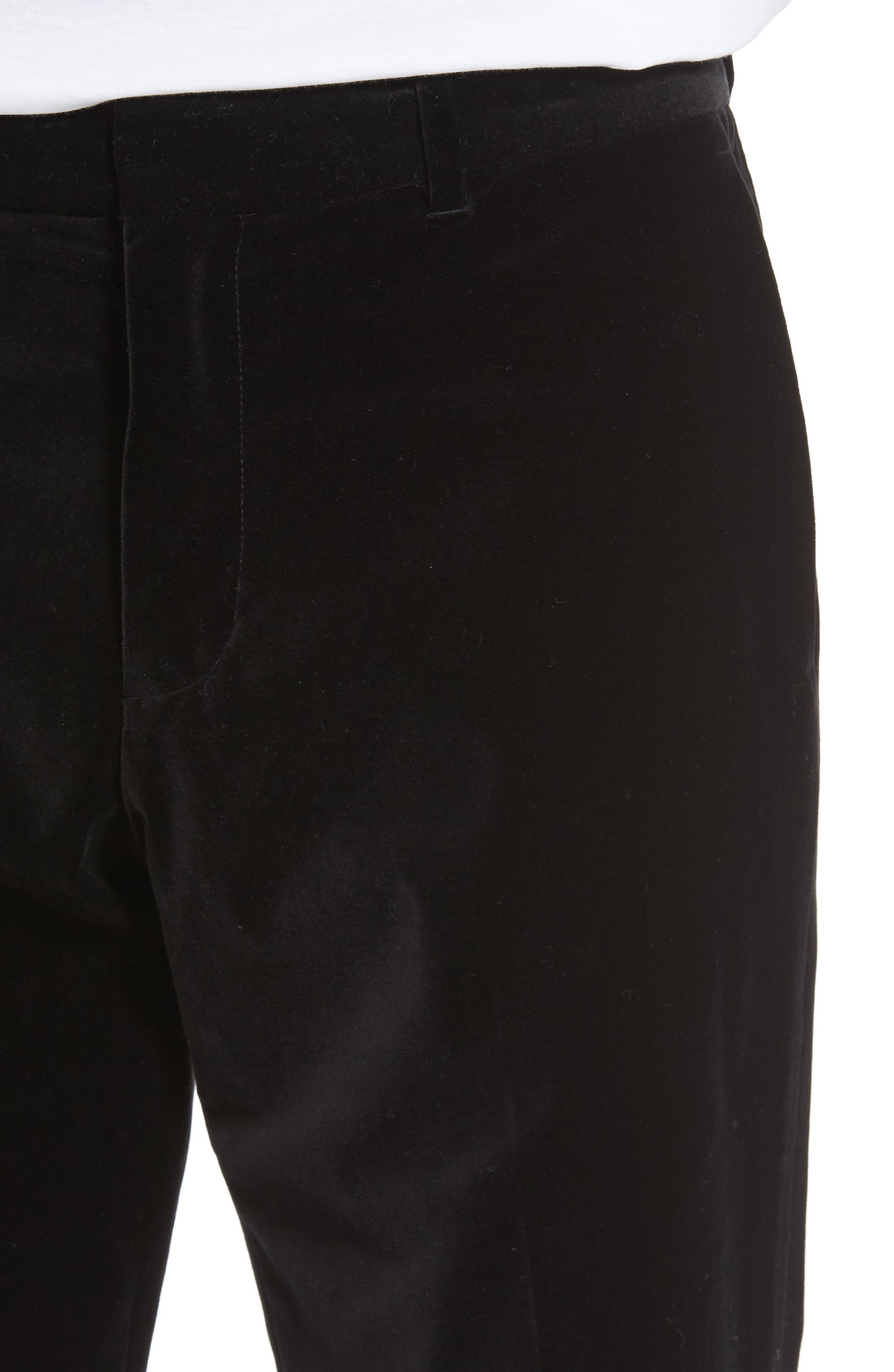 Velvet Trousers,                             Alternate thumbnail 4, color,                             Black