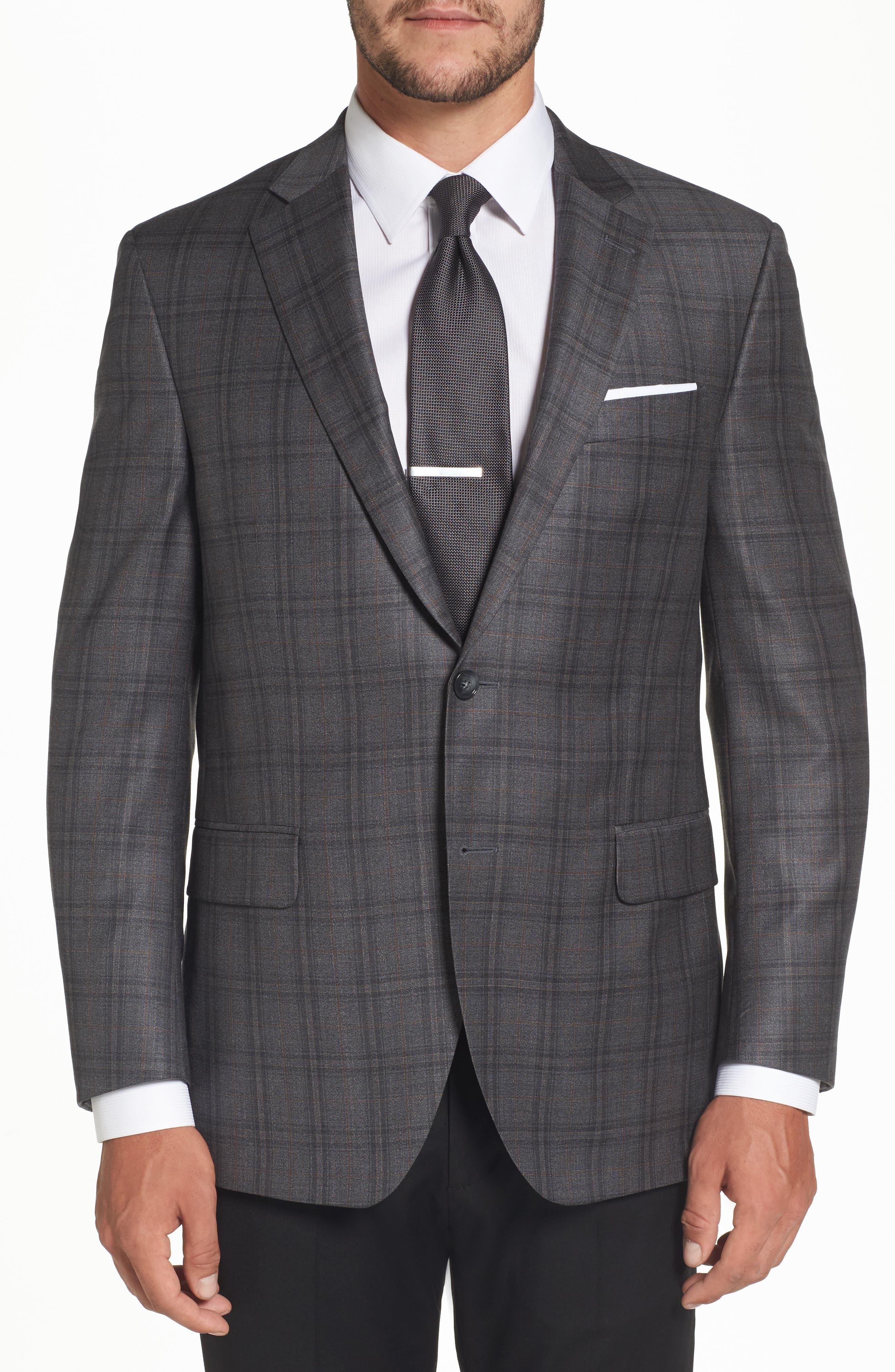 Flynn Classic Fit Plaid Wool Sport Coat,                         Main,                         color, Grey