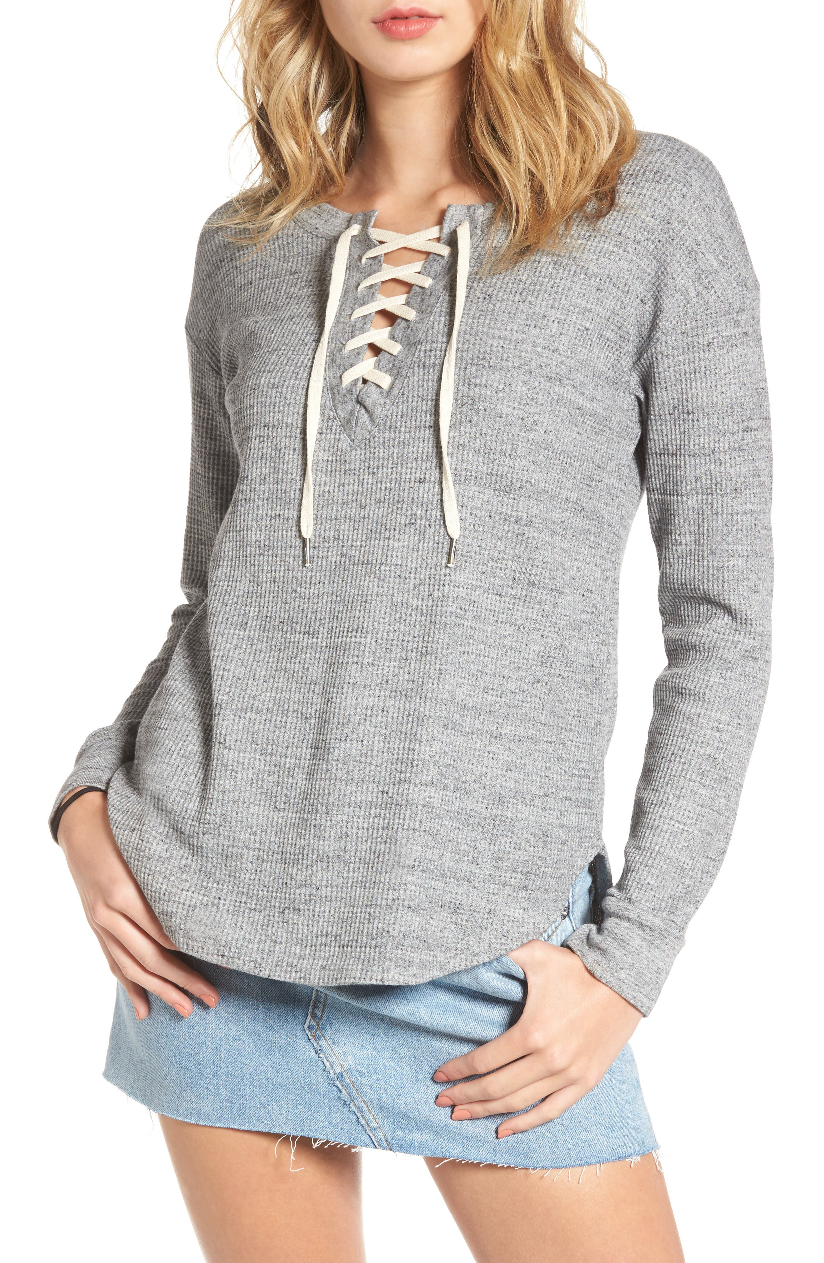 Splendid Lace-Up Thermal Top