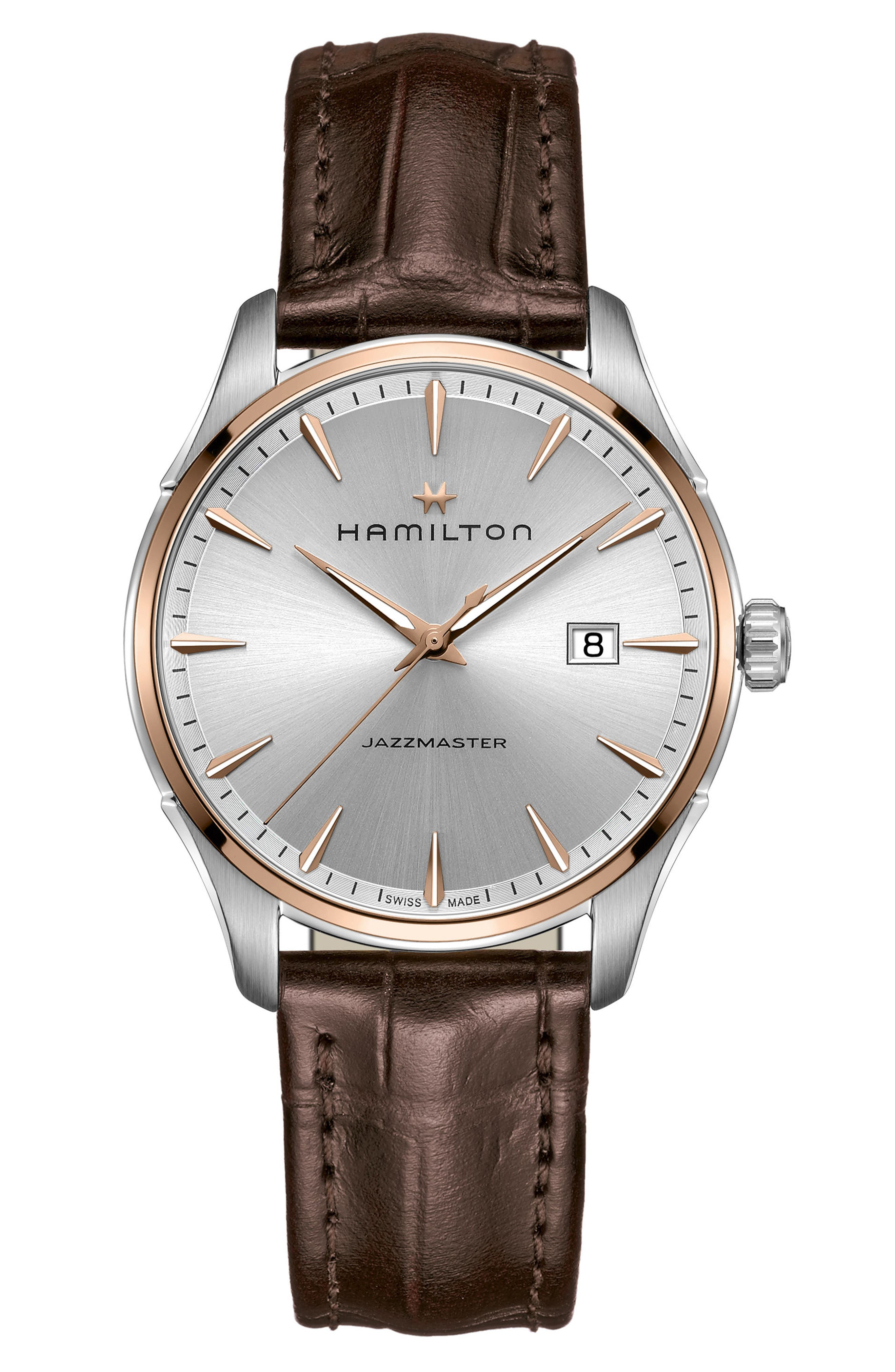 Jazzmaster Gent Leather Strap Watch, 40mm,                         Main,                         color, Brown/ Silver/ Rose Gold