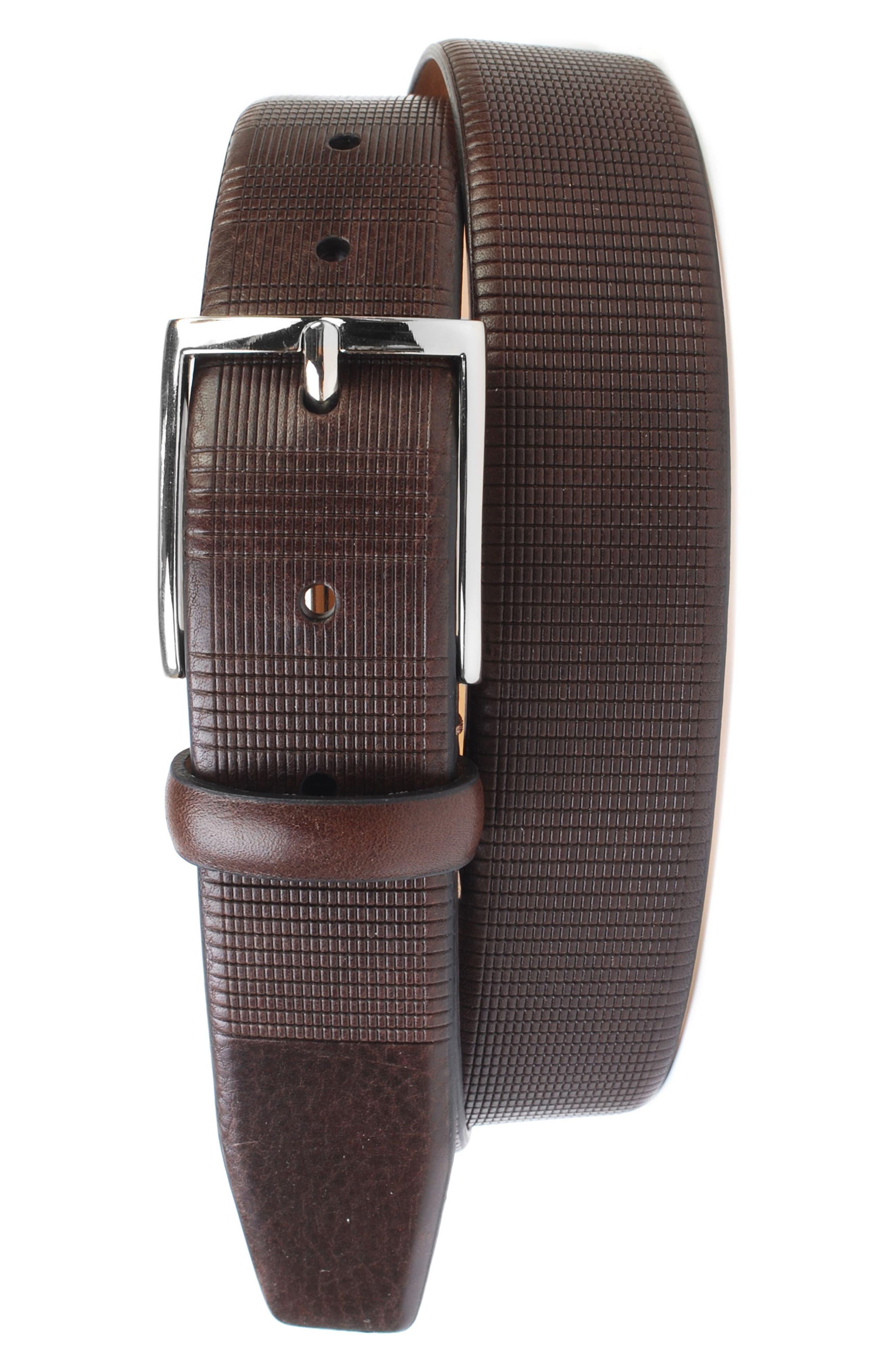 Howell Leather Belt,                             Main thumbnail 1, color,                             Walnut