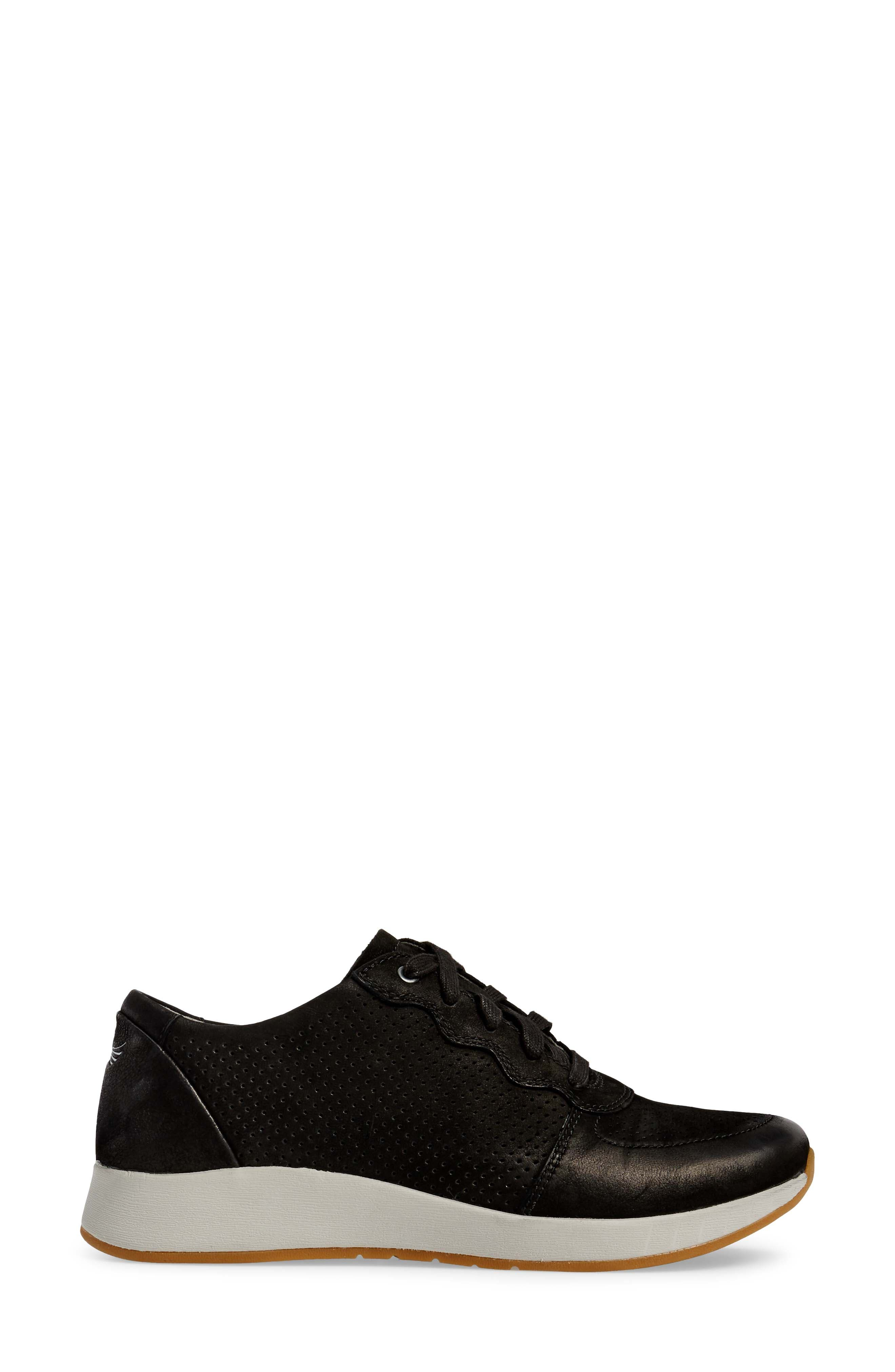 Christina Sneaker,                             Alternate thumbnail 3, color,                             Black Nubuck Leather