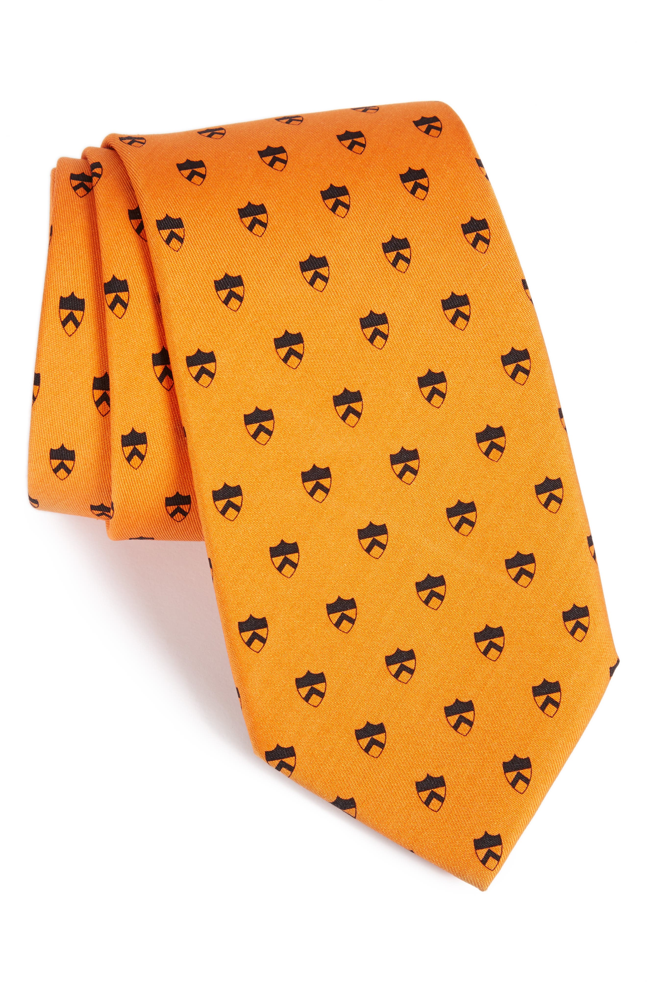 Princeton Shield Silk Tie,                         Main,                         color, Carrot