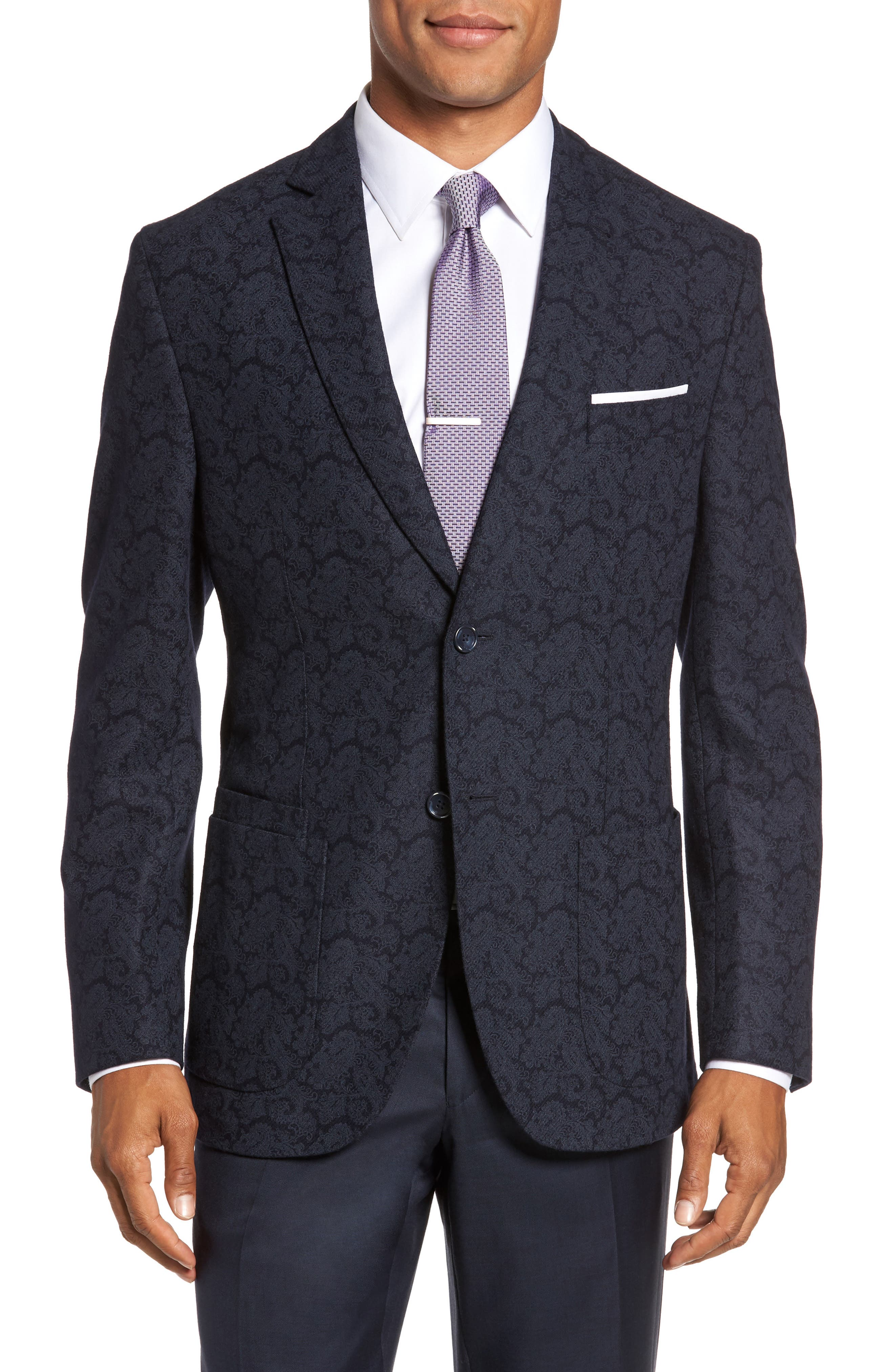 Main Image - JKT New York Trim Fit Paisley Wool Blend Sport Coat