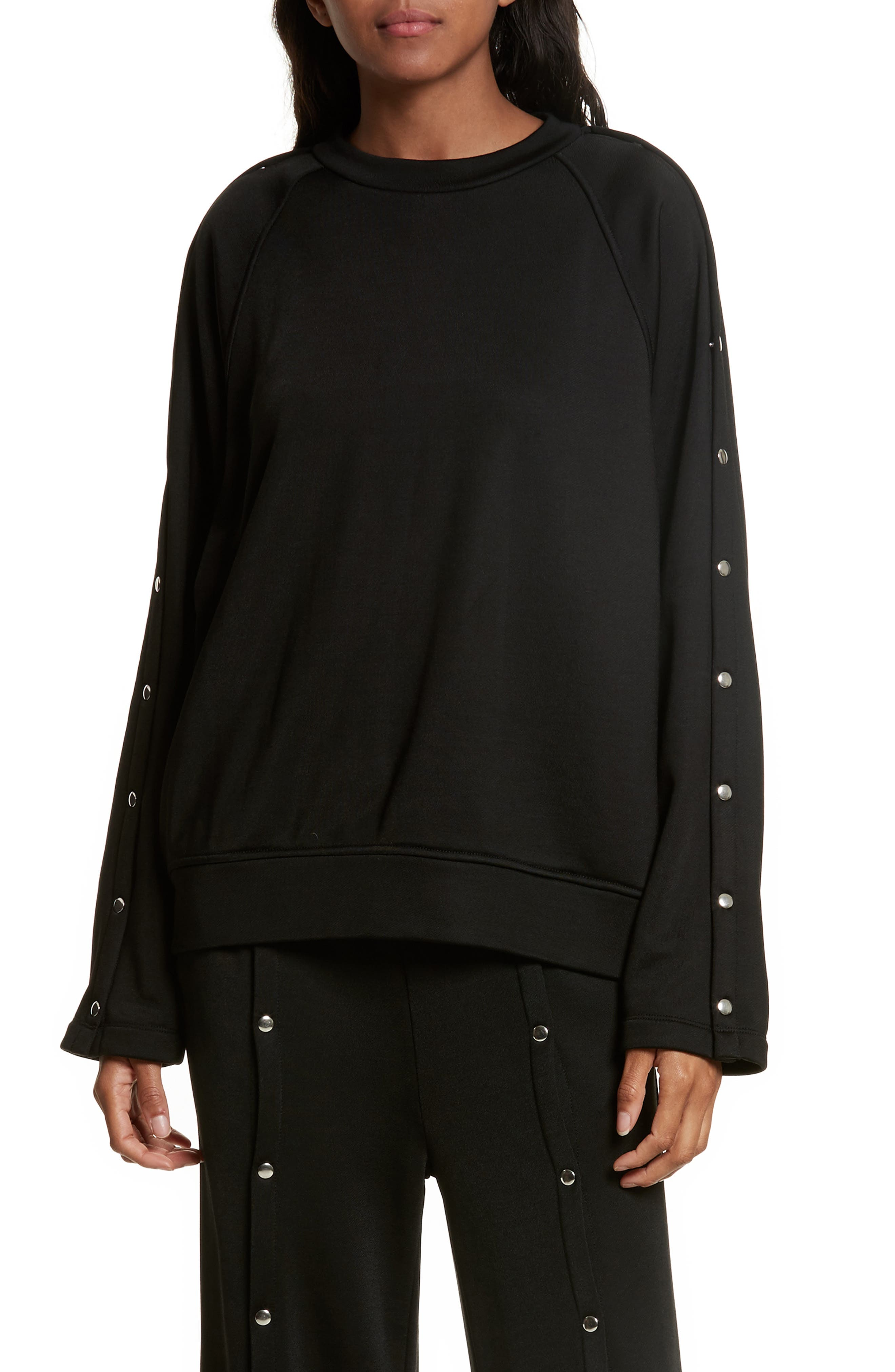 French Terry Sweatshirt,                         Main,                         color, Black